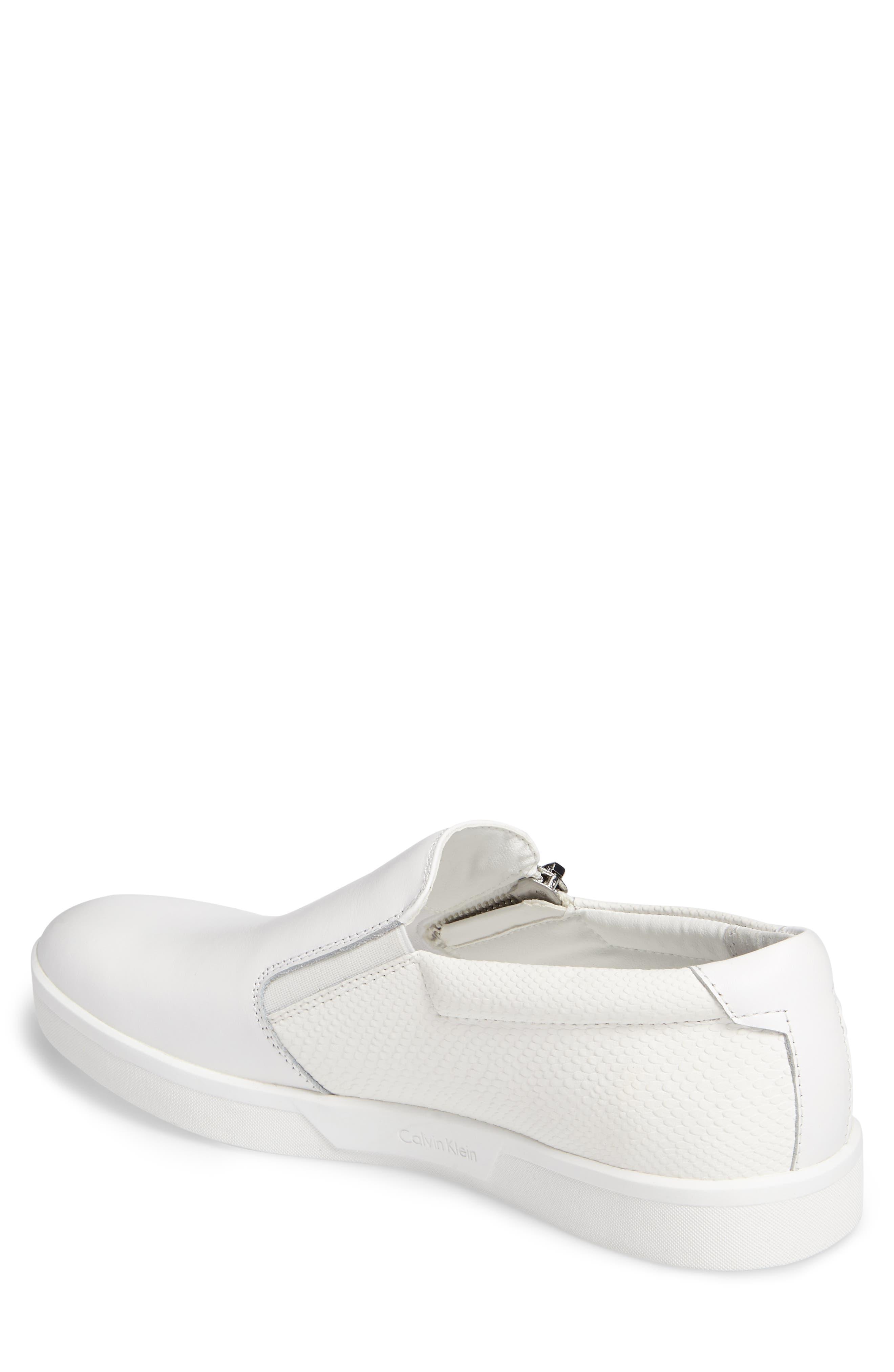 Ibiza Slip-On Zip Sneaker,                             Alternate thumbnail 2, color,                             White Leather