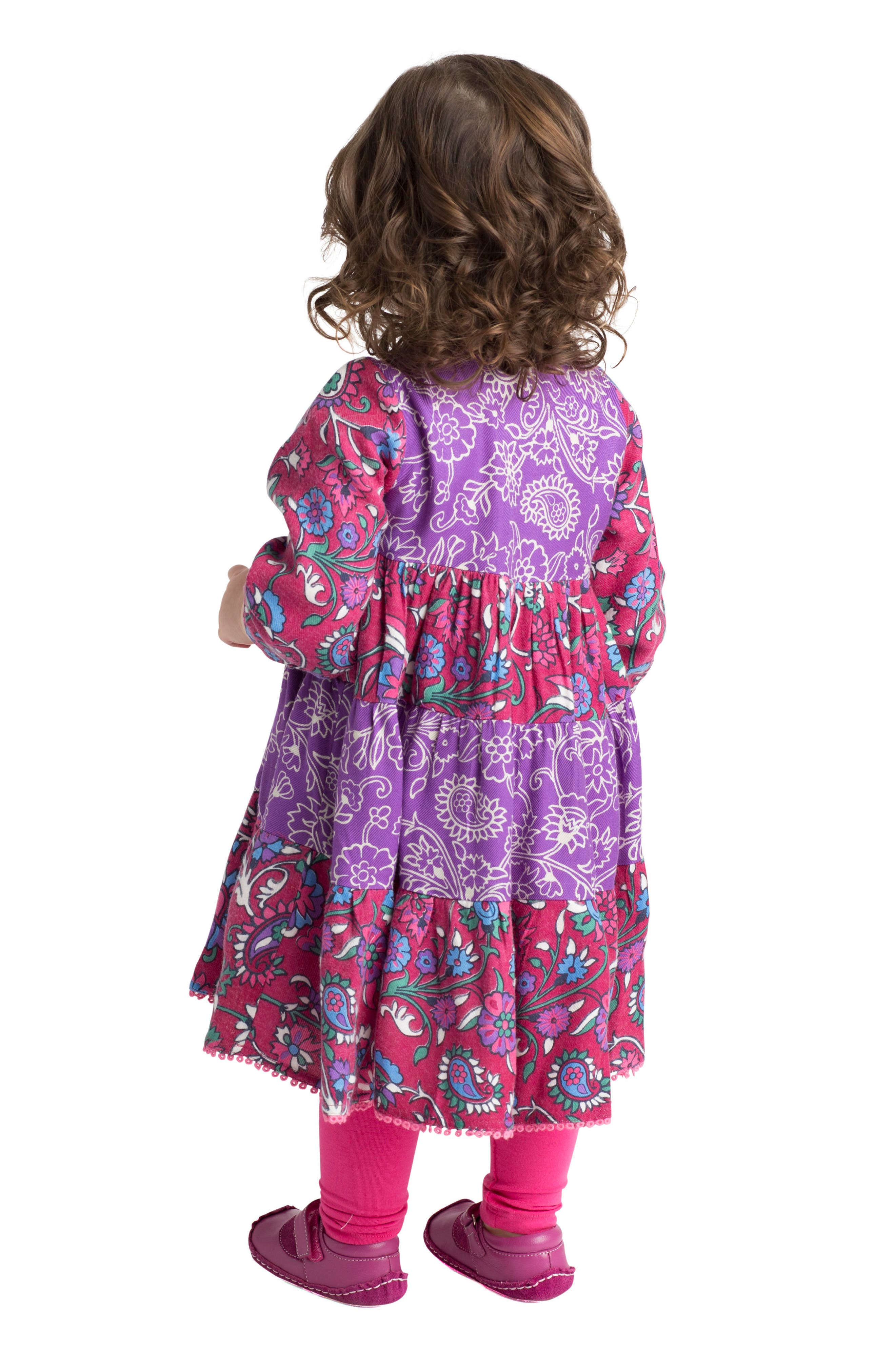 Tiered Floral Dress,                             Alternate thumbnail 3, color,                             Multi