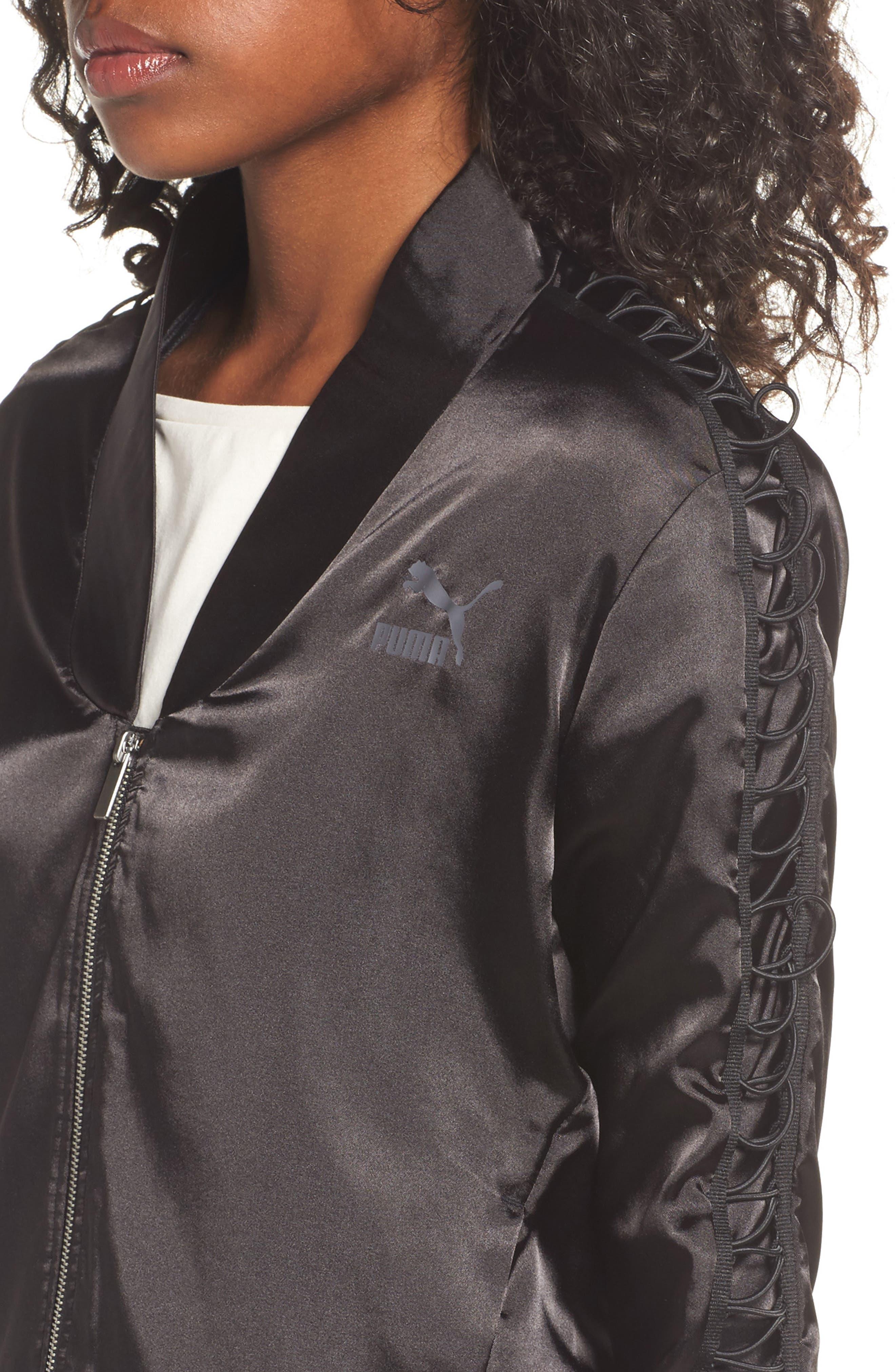 Satin Track Jacket,                             Alternate thumbnail 4, color,                             Puma Black