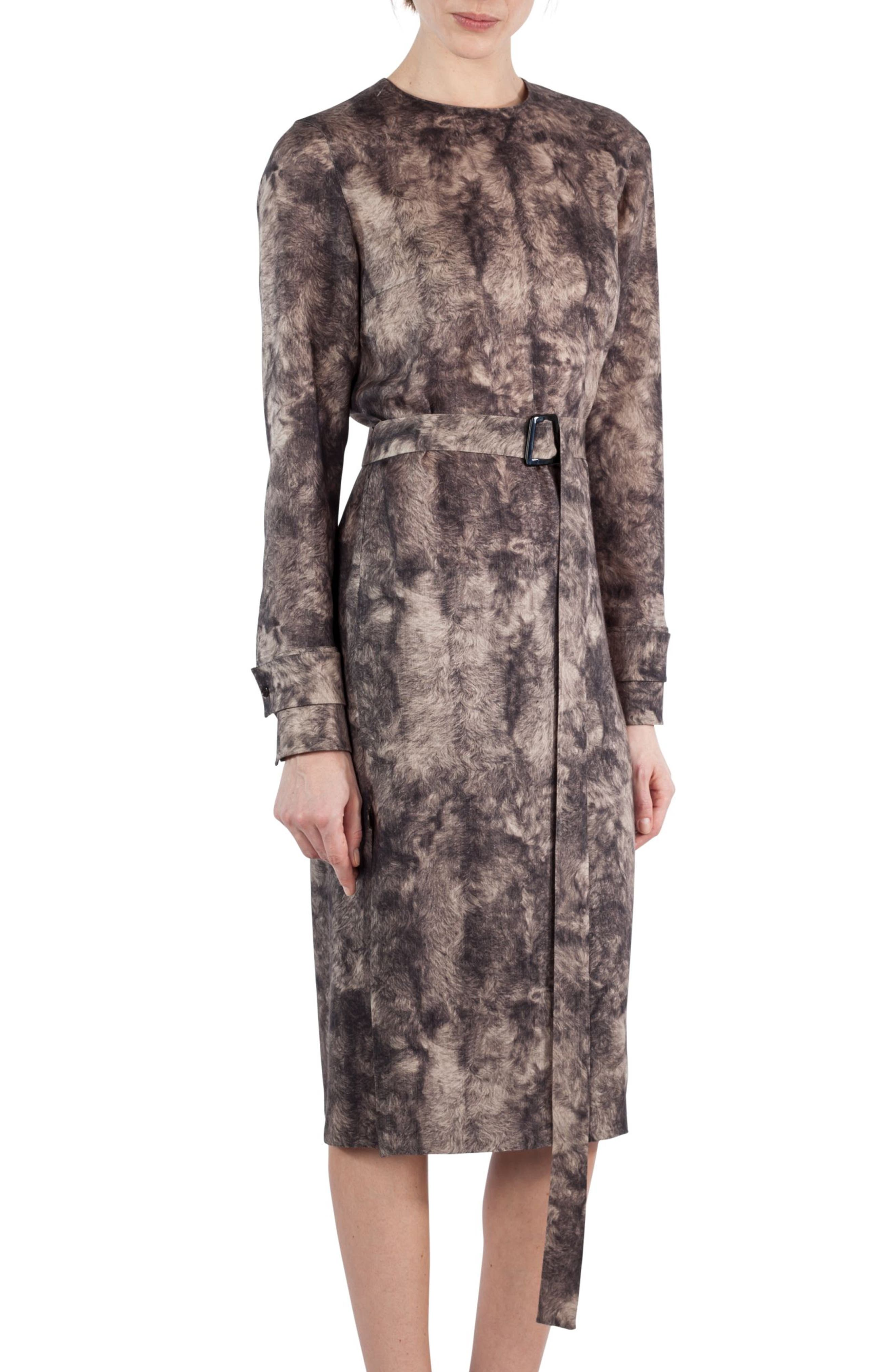 Print Wool Dress,                             Alternate thumbnail 4, color,                             Taupe-Sepia