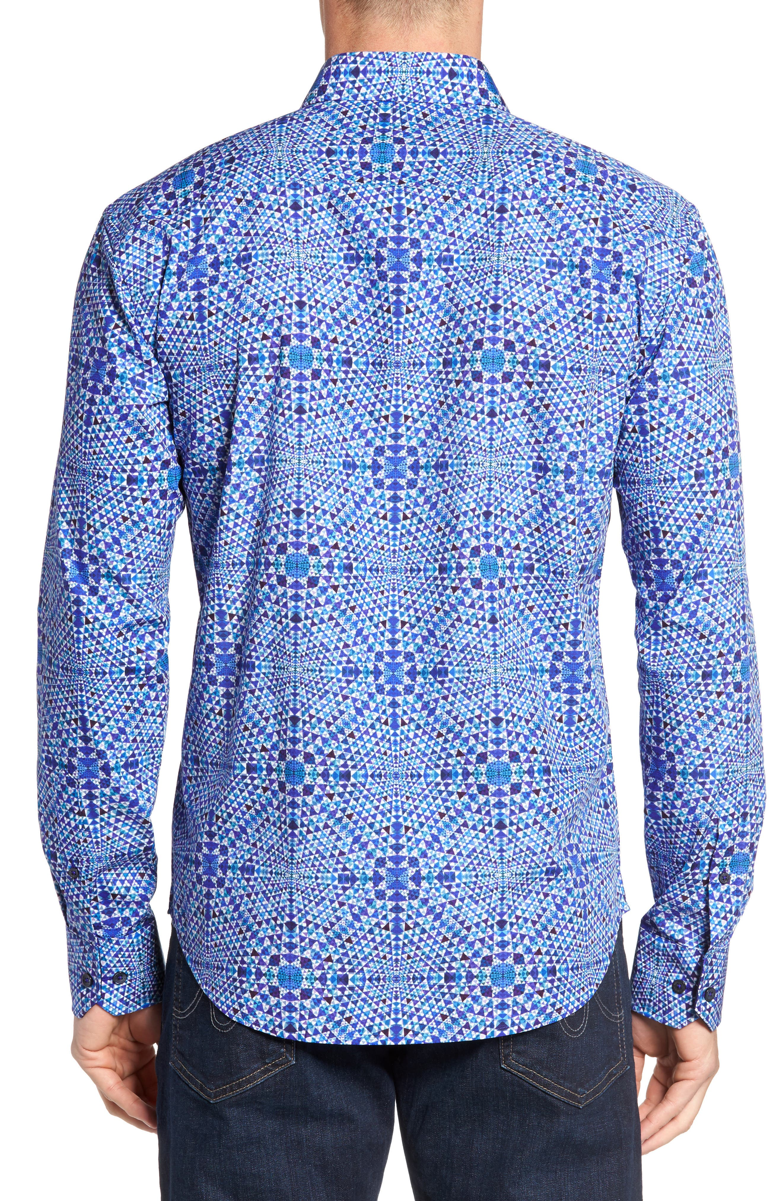 Shaped Fit Geo Print Sport Shirt,                             Alternate thumbnail 3, color,                             Orchid