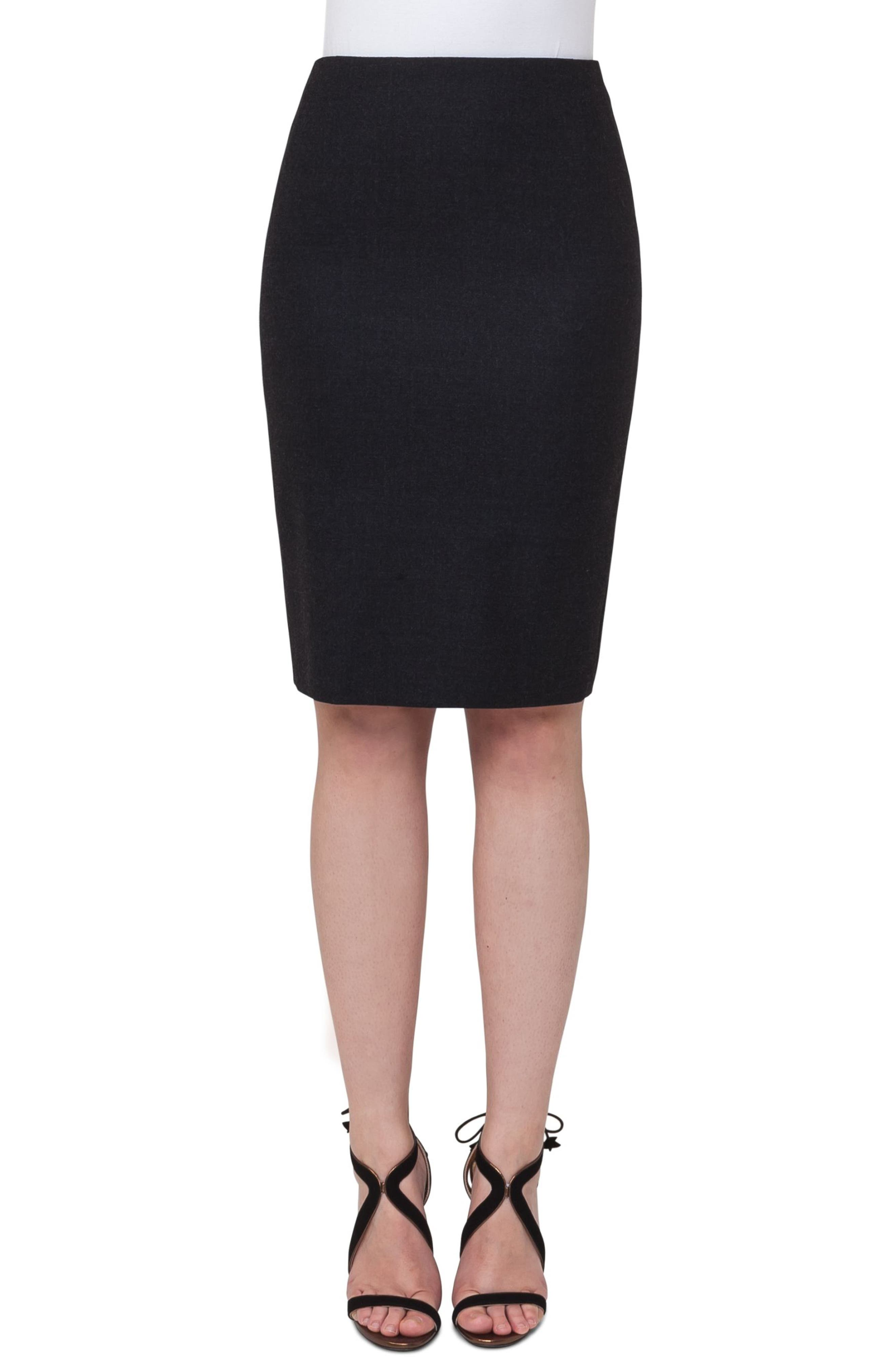Akris Lei Stretch Wool Flannel Pencil Skirt