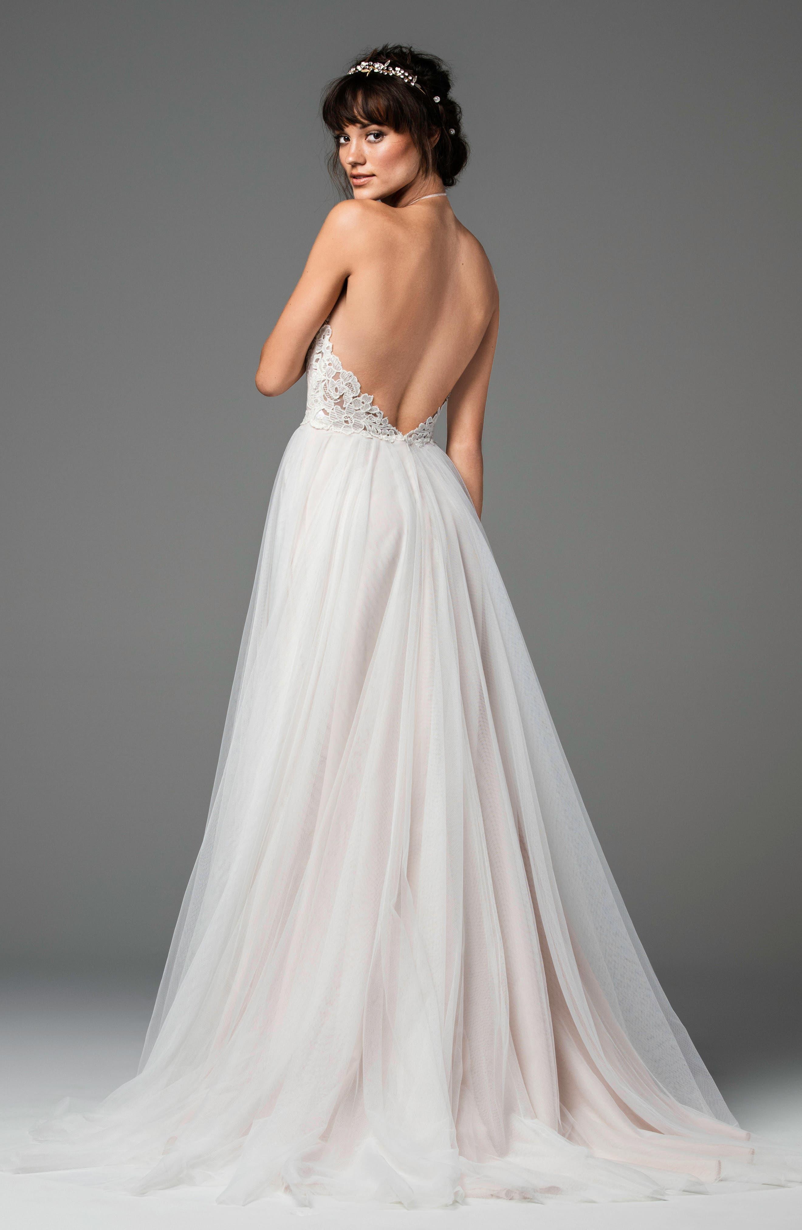 Esperance Lace & Net Halter Gown,                             Alternate thumbnail 2, color,                             Ivory/Ivory