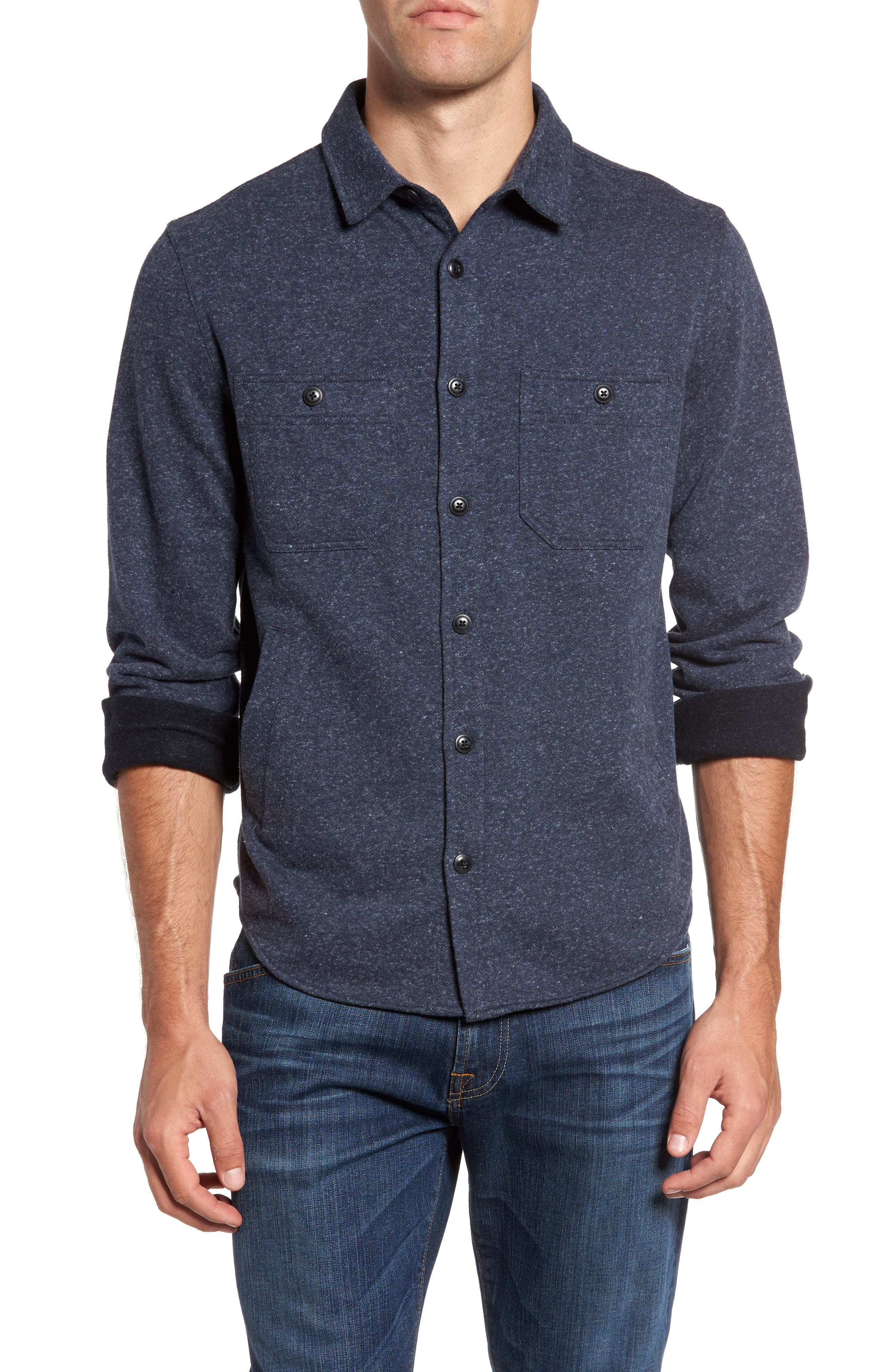 Bayswater Modern Fit Heathered Shirt Jacket,                         Main,                         color, Navy Heather