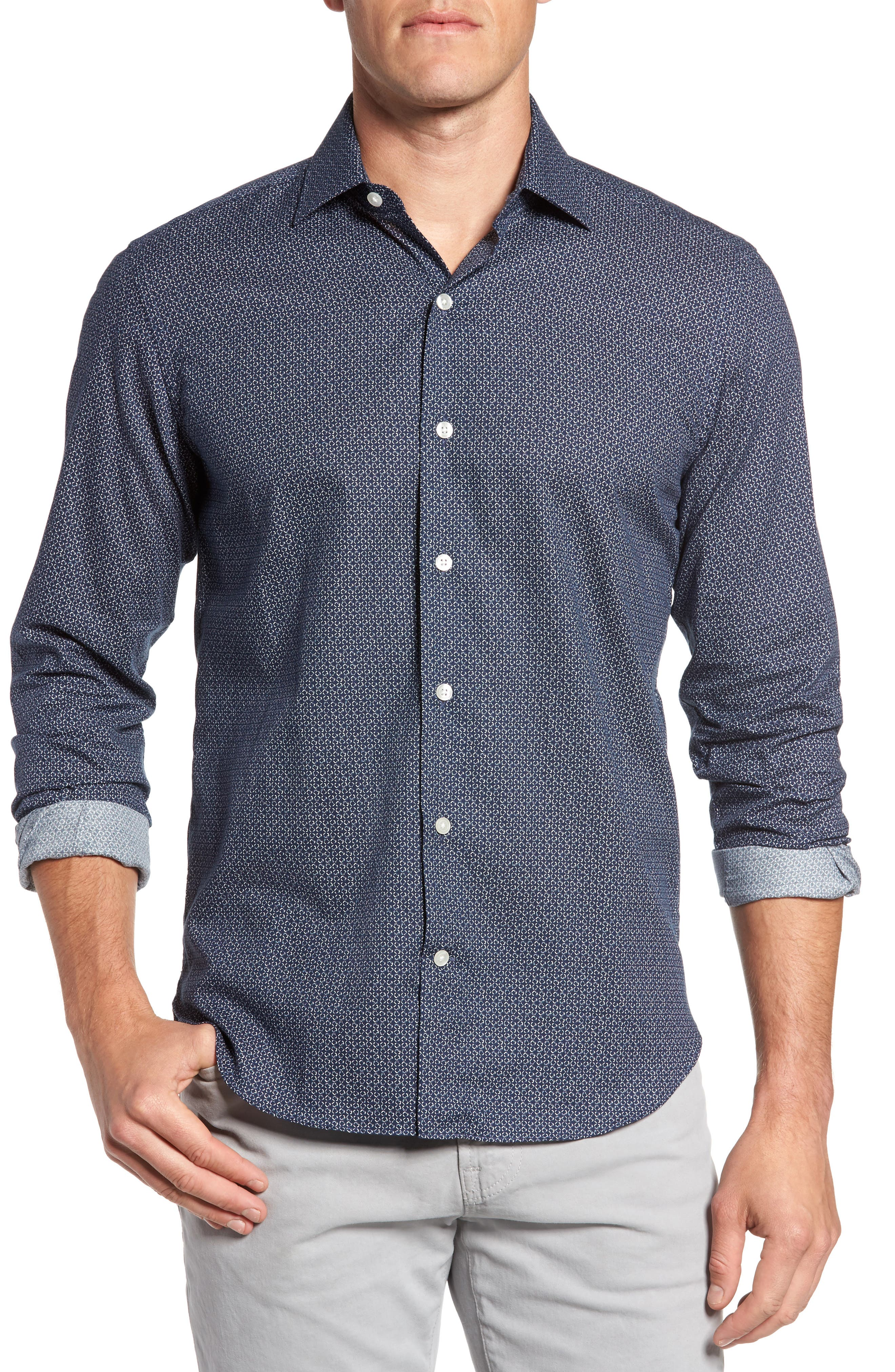 Trim Fit Abstract Print Sport Shirt,                         Main,                         color, Navy