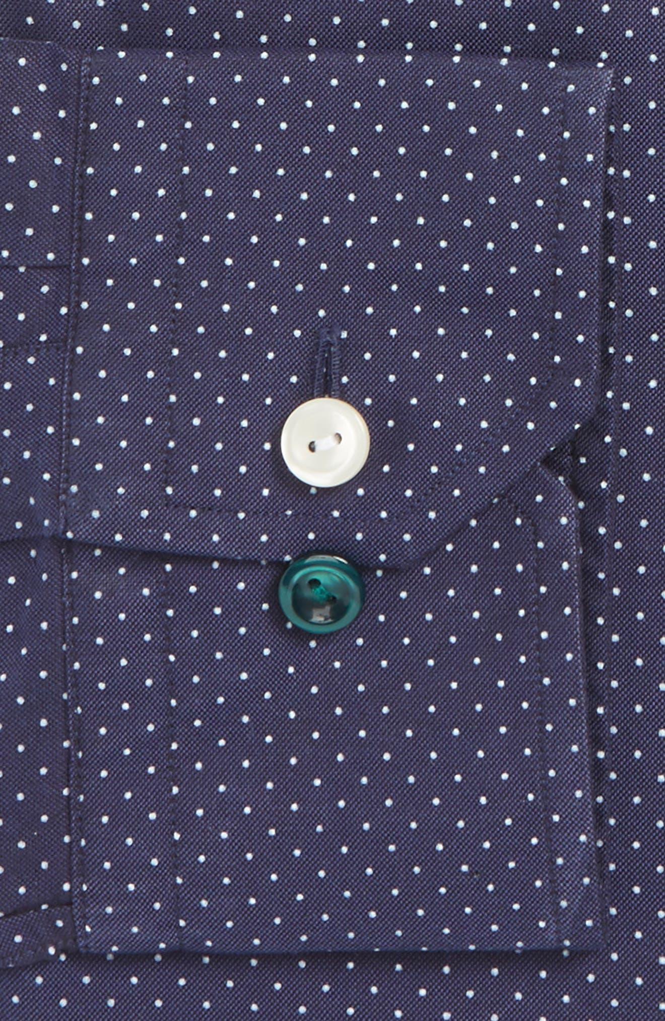 Slim Fit Microdot Dress Shirt,                             Alternate thumbnail 2, color,                             Navy