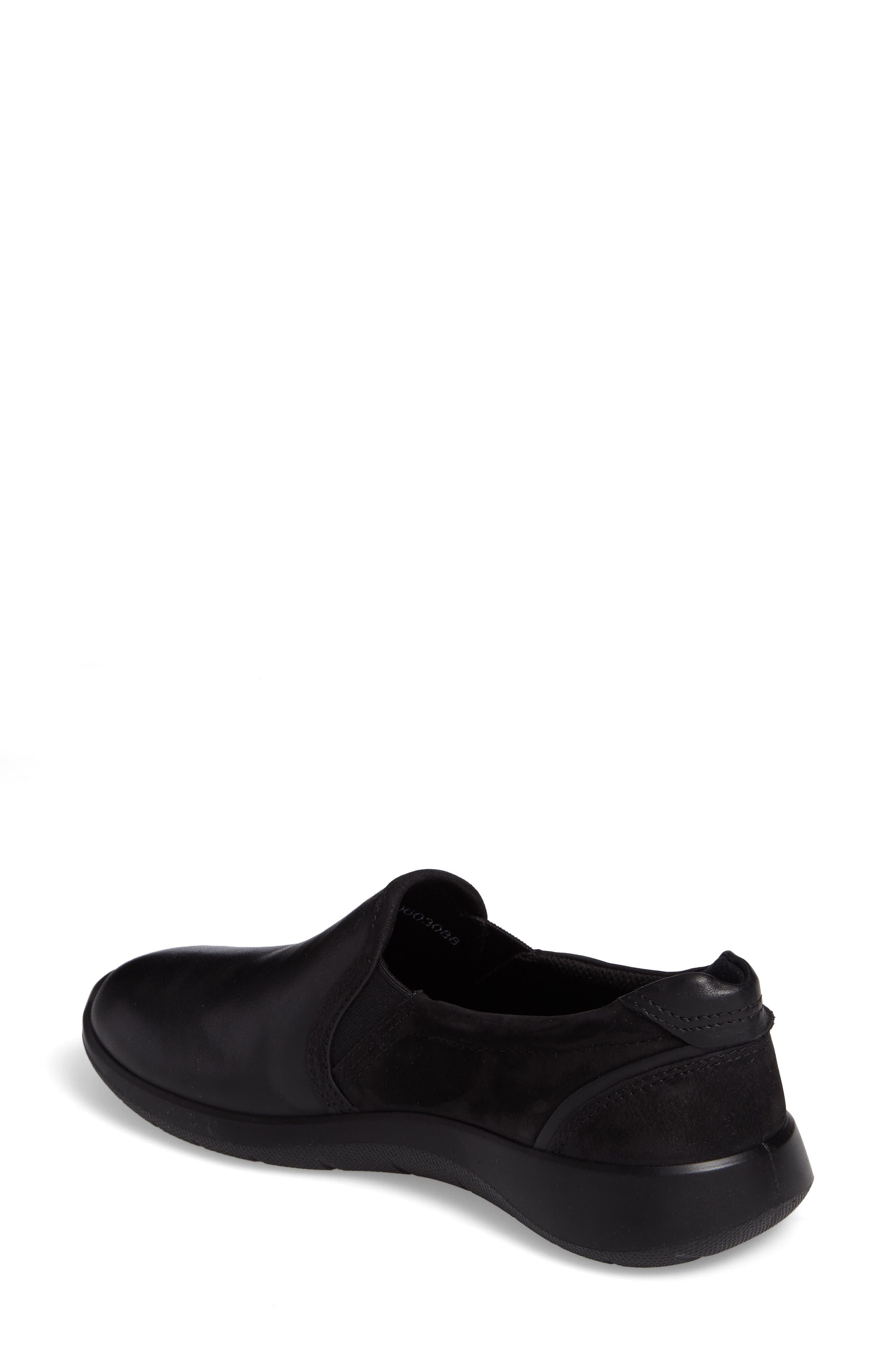 Soft 5 Slip-On Sneaker,                             Alternate thumbnail 2, color,                             Black Leather