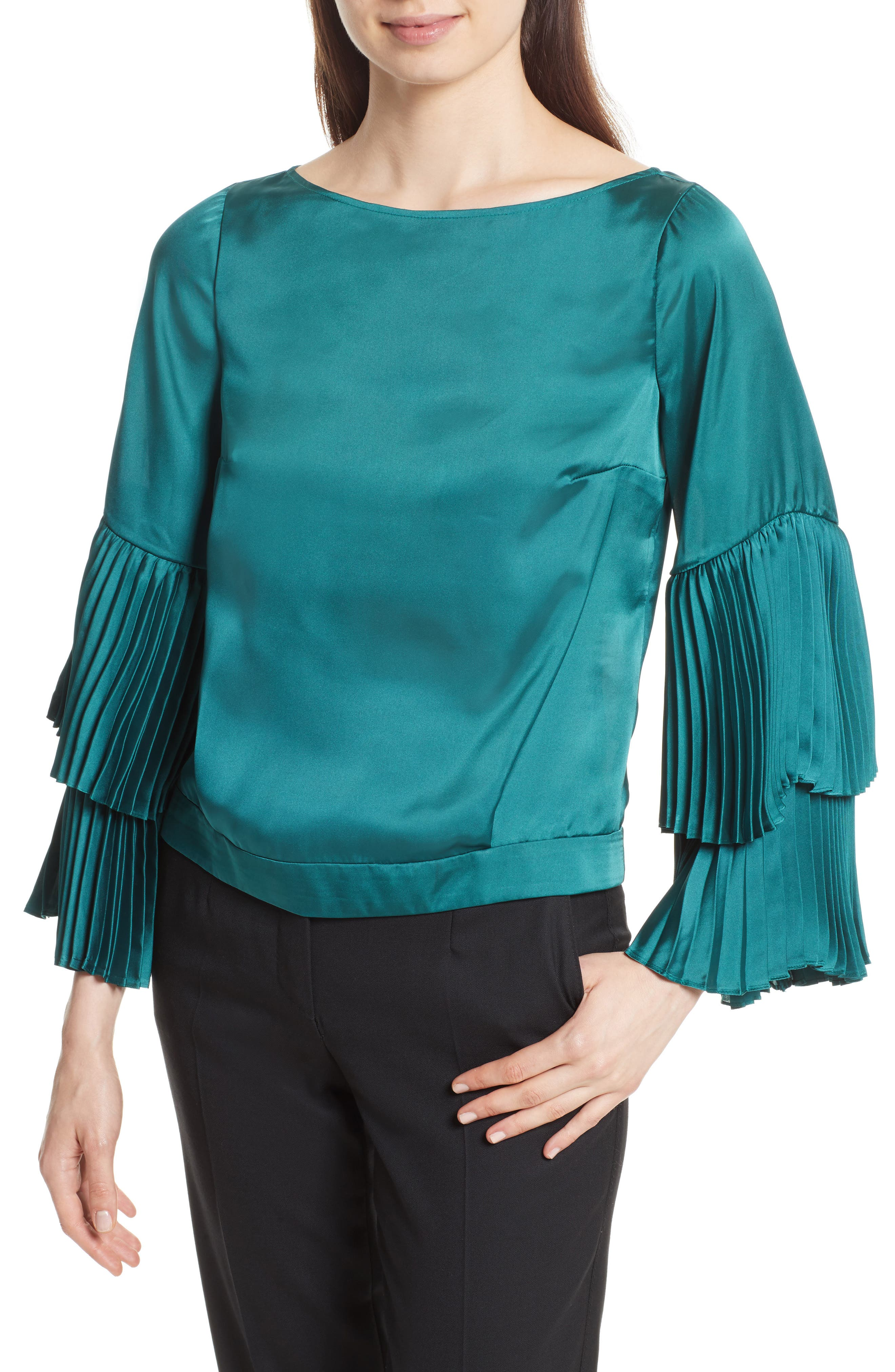 Pleated Bell Sleeve Boxy Blouse,                         Main,                         color, Holly