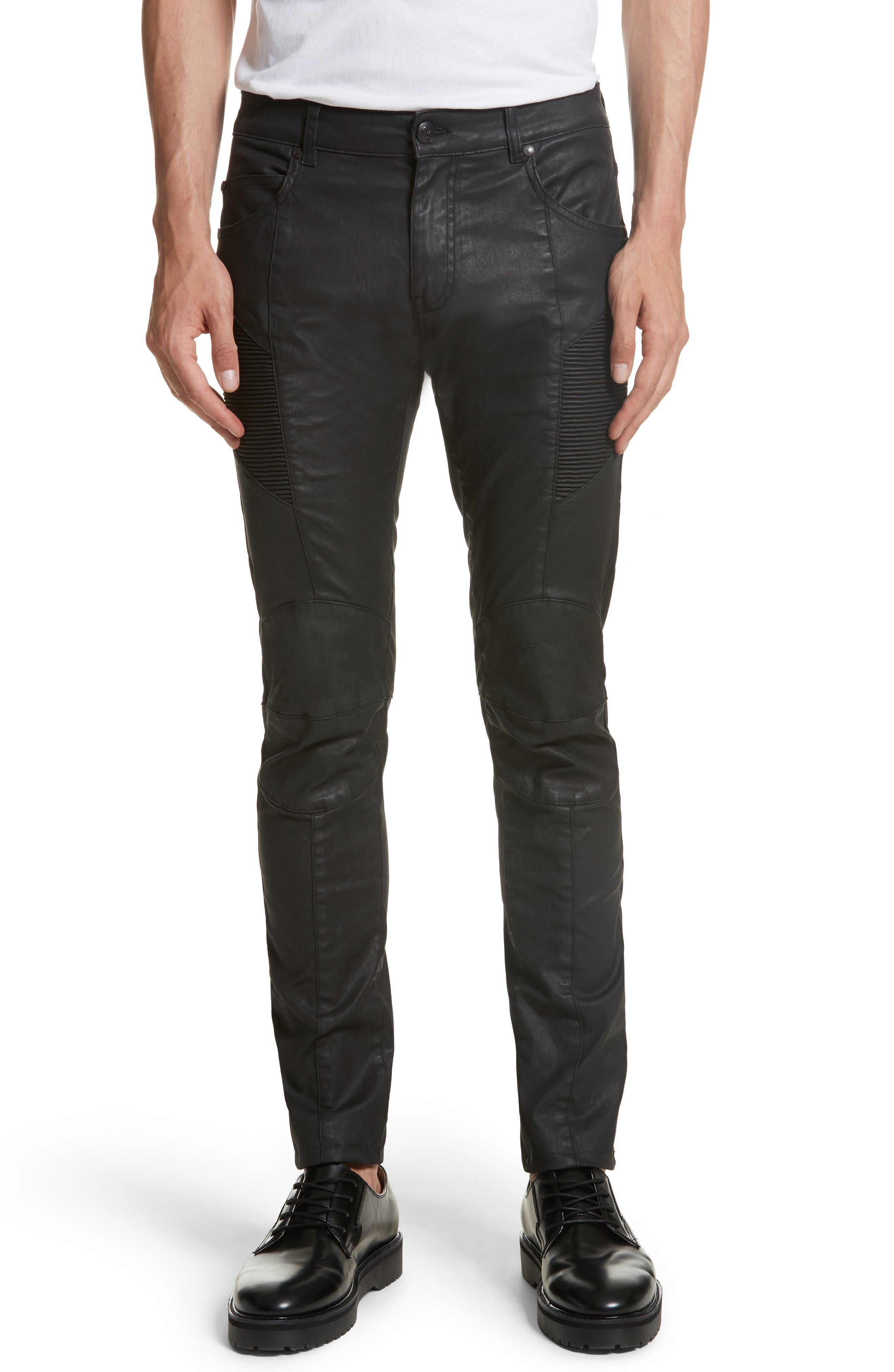 Alternate Image 1 Selected - Pierre Balmain Core Coated Moto Jeans