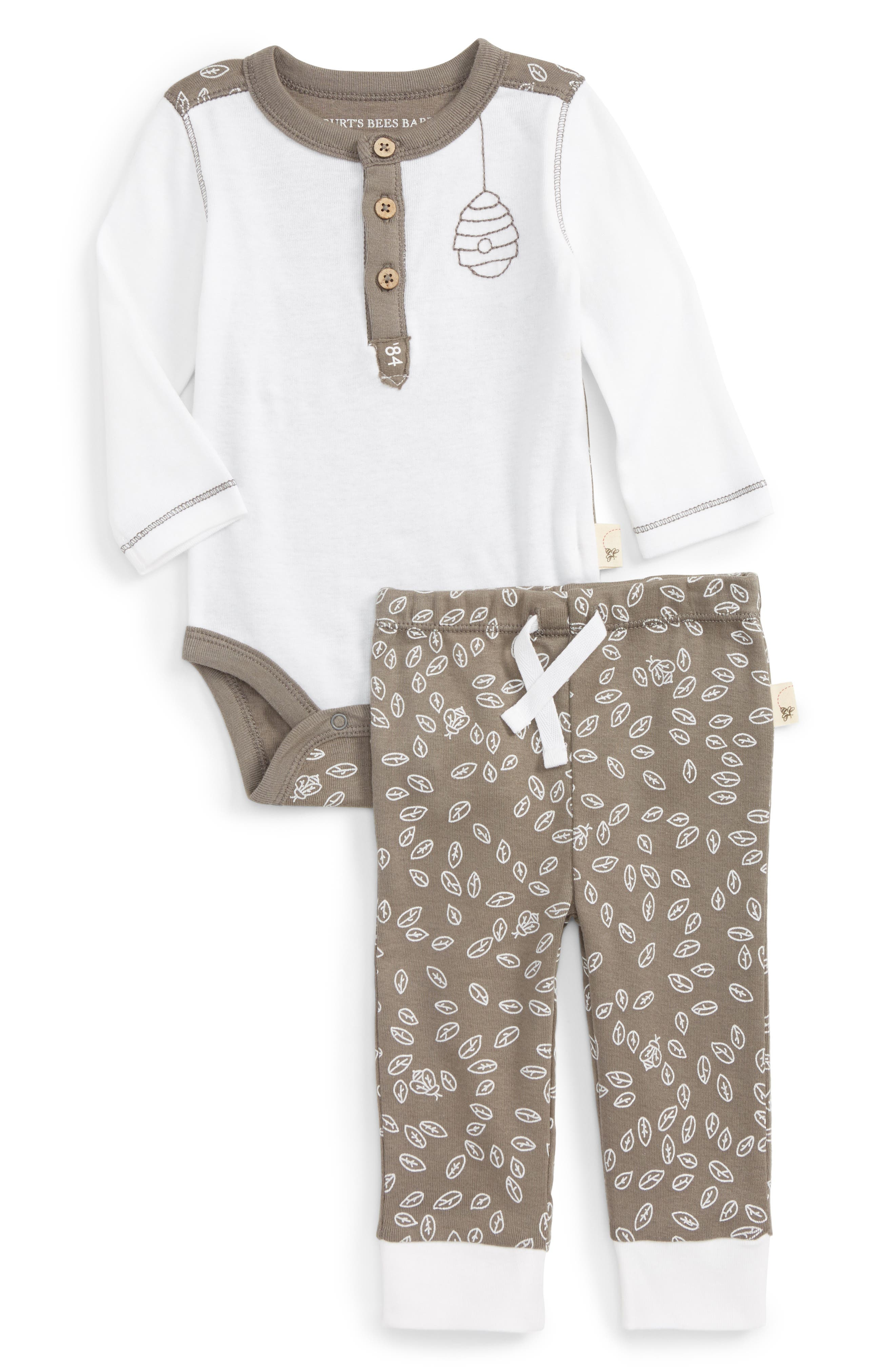 Organic Cotton Henley Bodysuit & Pants Set,                             Main thumbnail 1, color,                             Cloud