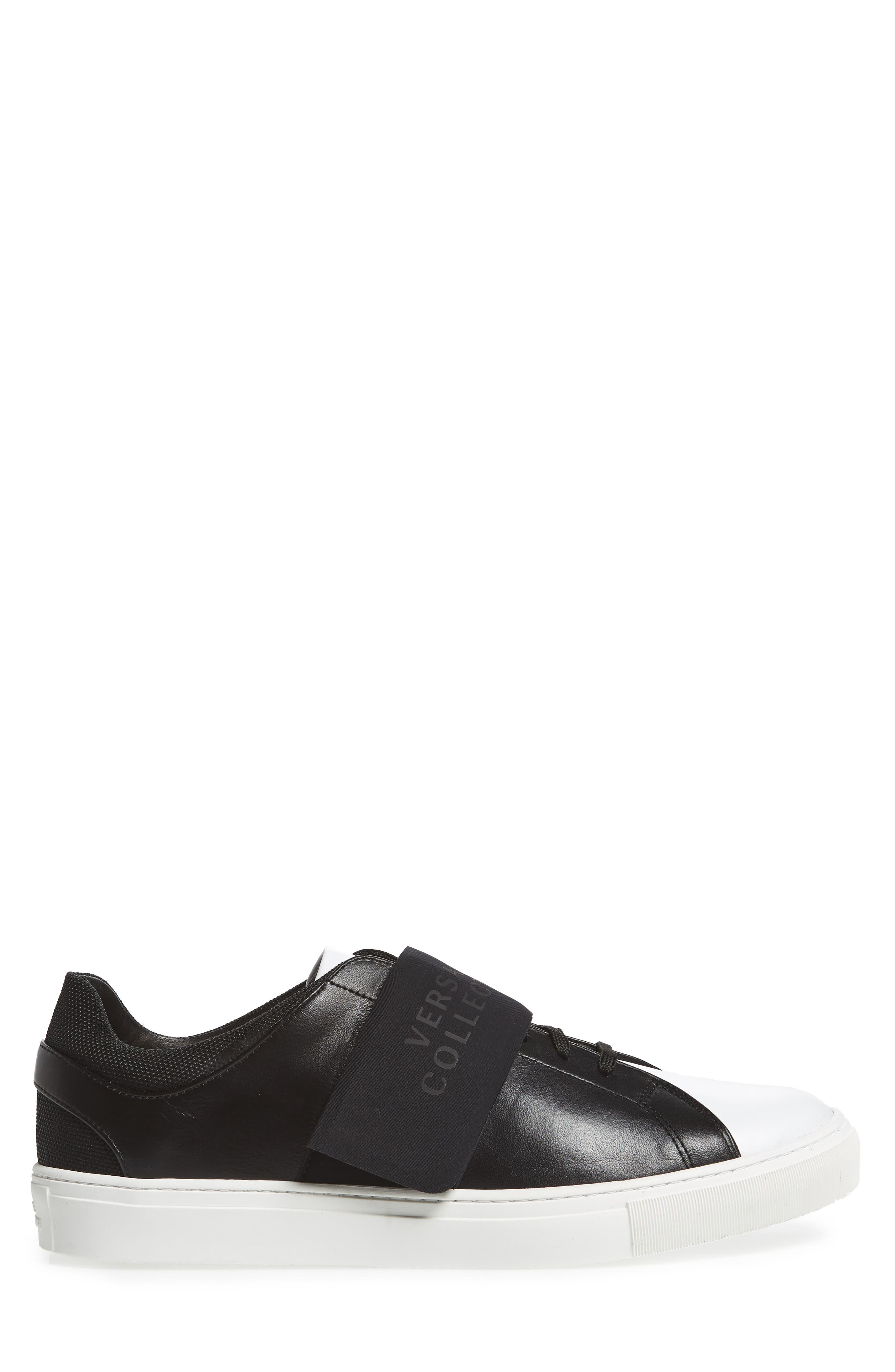 Strap Sneaker,                             Alternate thumbnail 3, color,                             Bianco/ Nero Leather