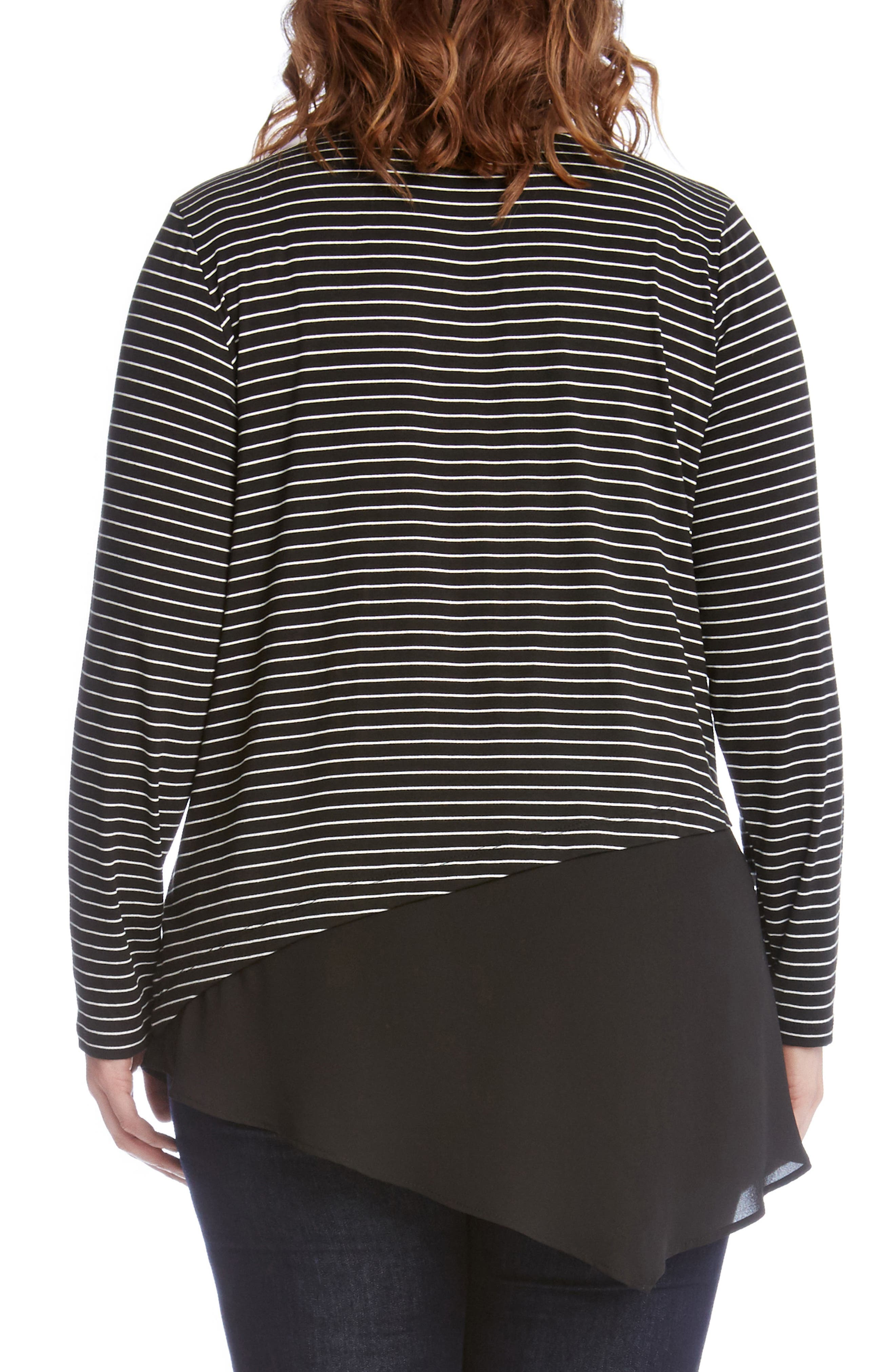 Alternate Image 2  - Karen Kane Asymmetrical Stripe Mixed Media Top (Plus Size)