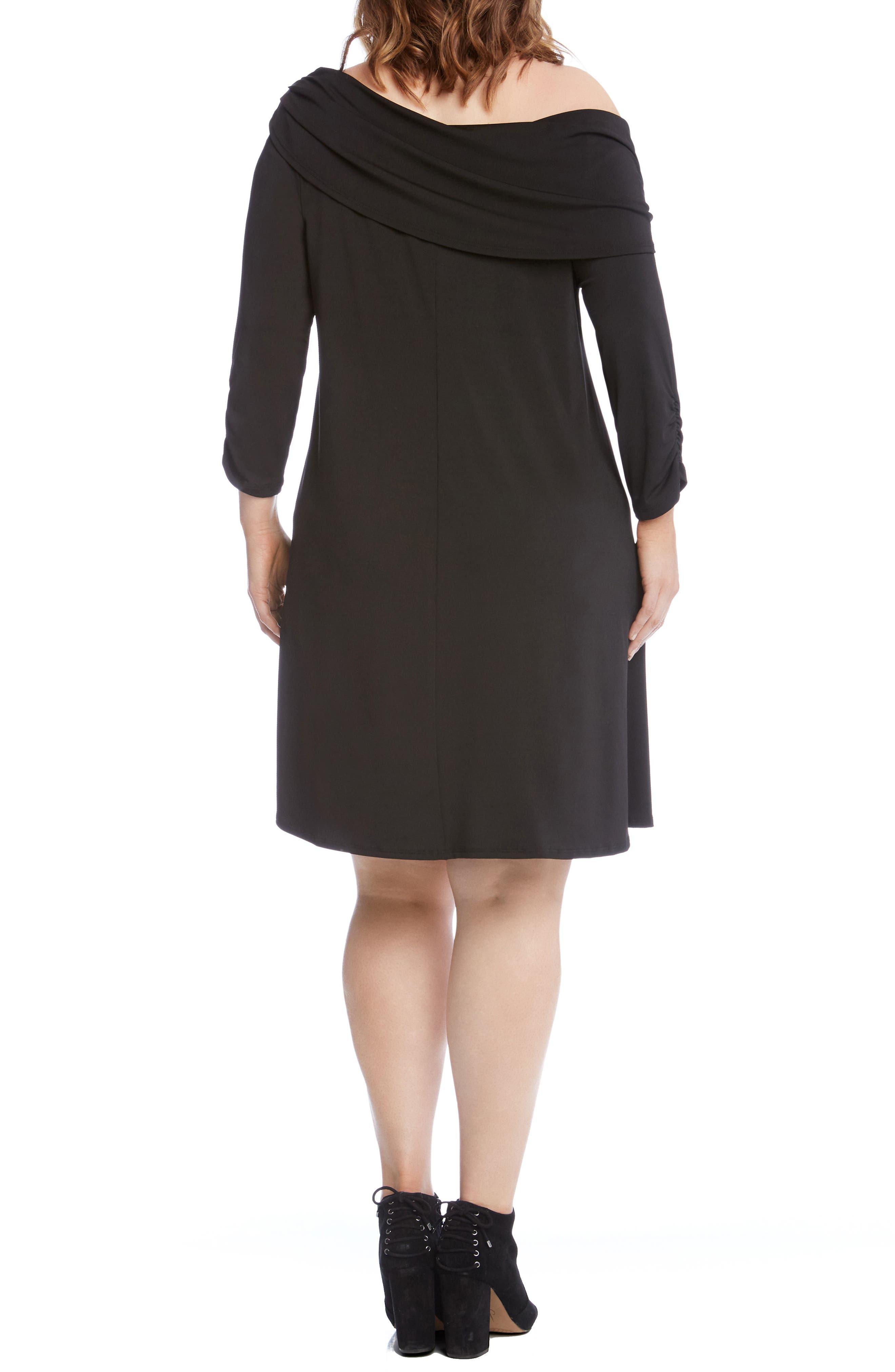 Alternate Image 3  - Karen Kane Draped Boat Neck Dress (Plus Size)