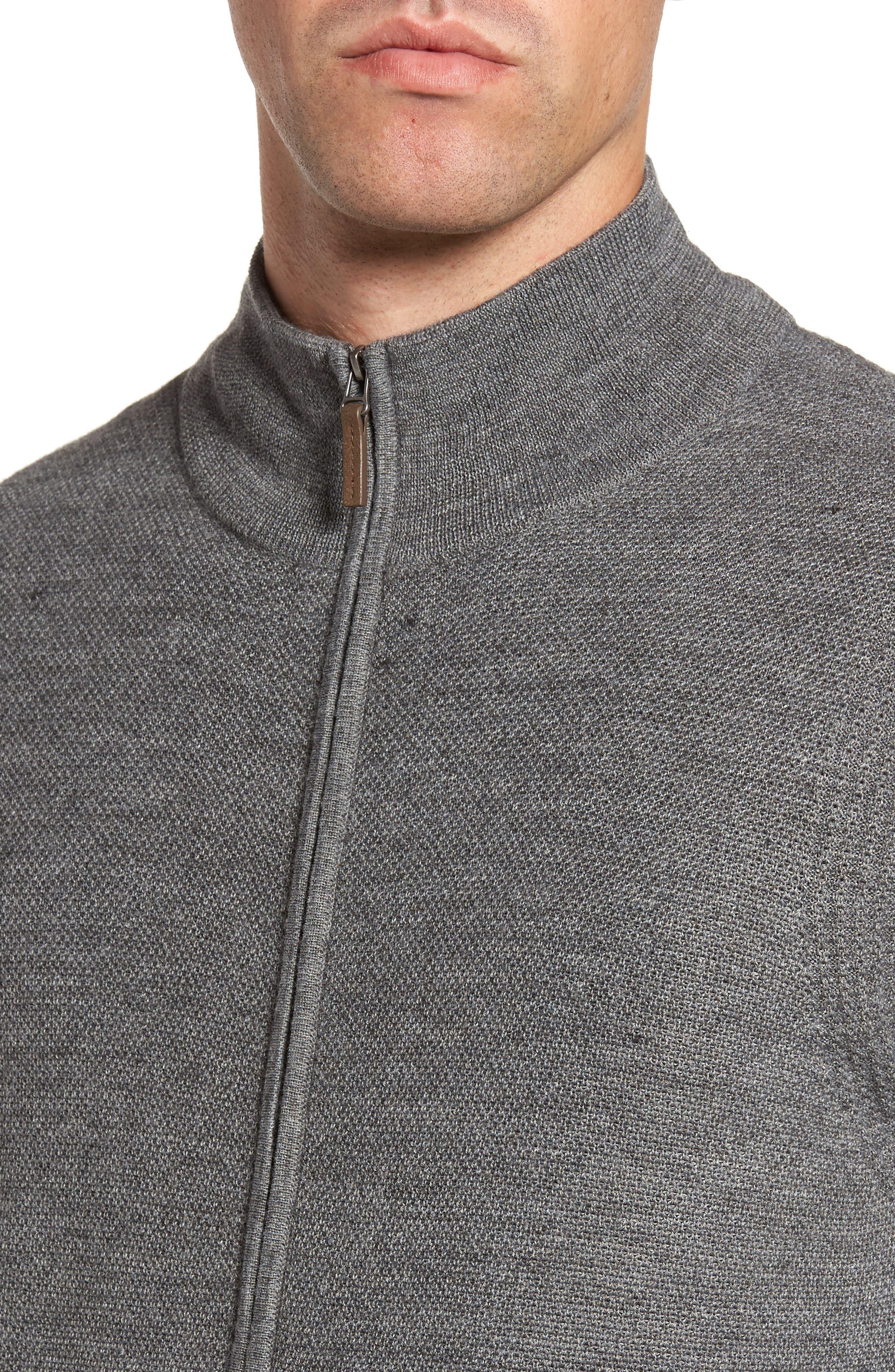 Alternate Image 4  - Nordstrom Men's Shop Honeycomb Zip Front Cardigan