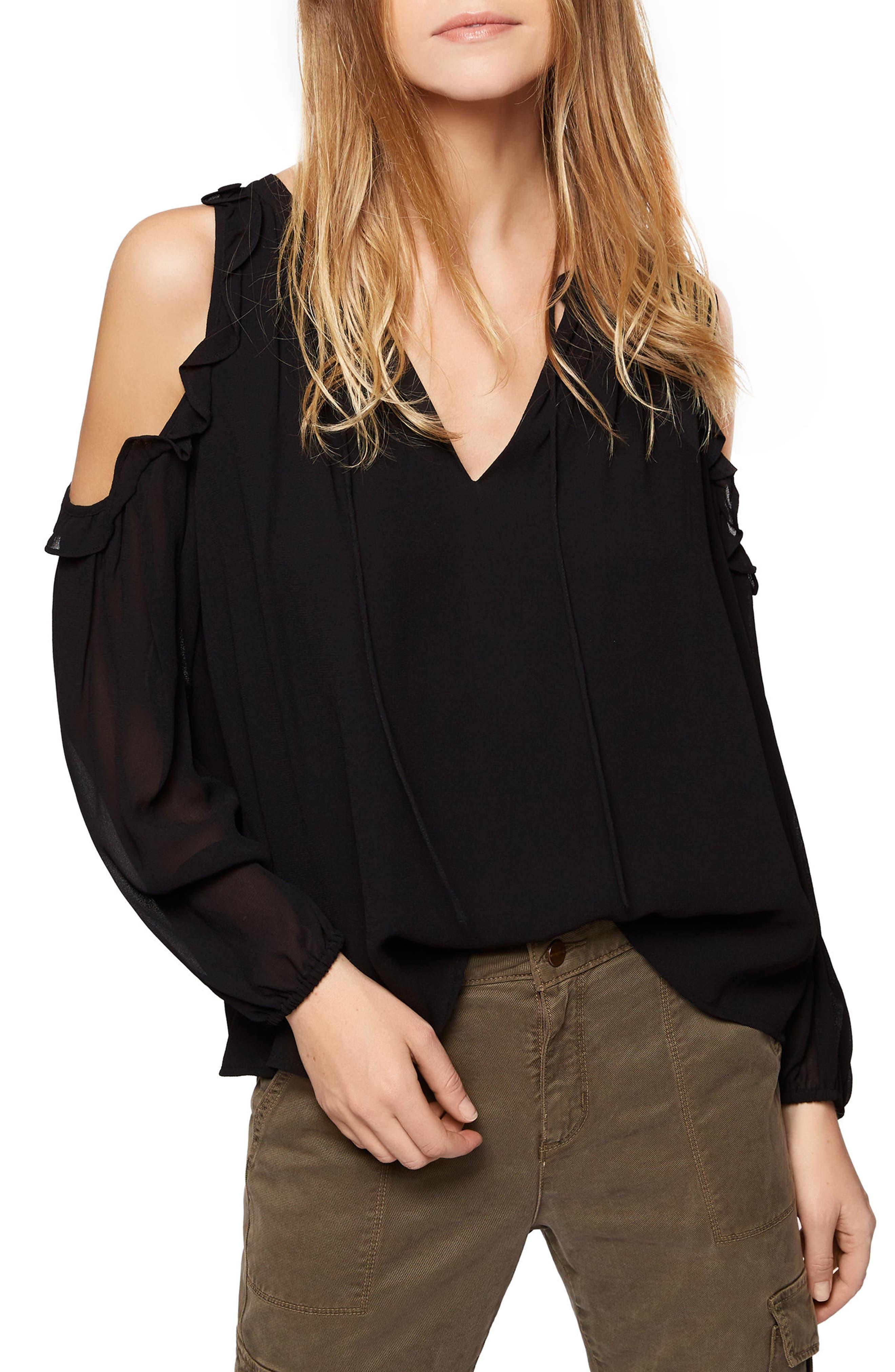 Blaire Cold Shoulder Top,                         Main,                         color, Black