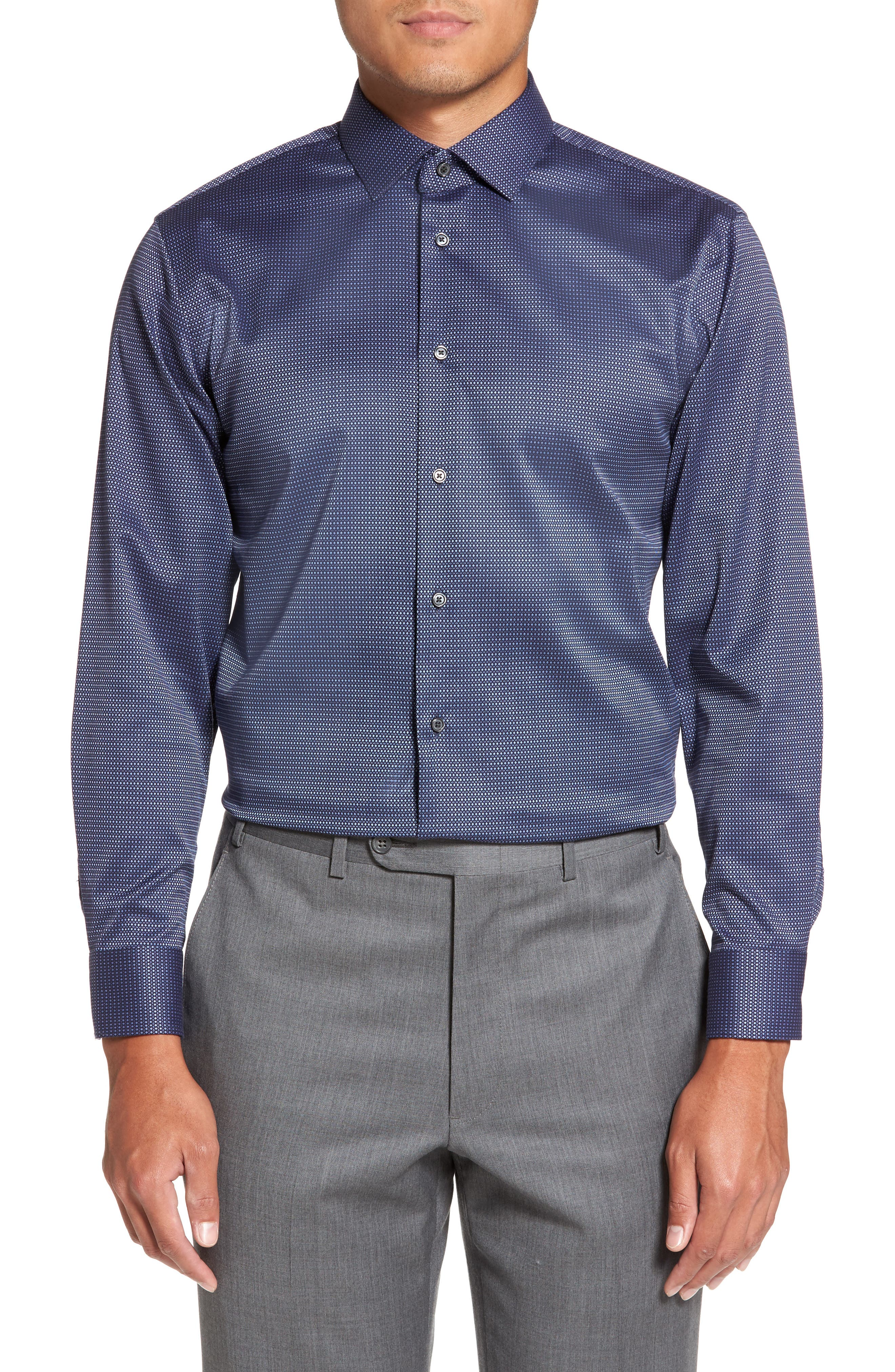 Alternate Image 2  - Calibrate Trim Fit Non-Iron Stretch Dot Dress Shirt