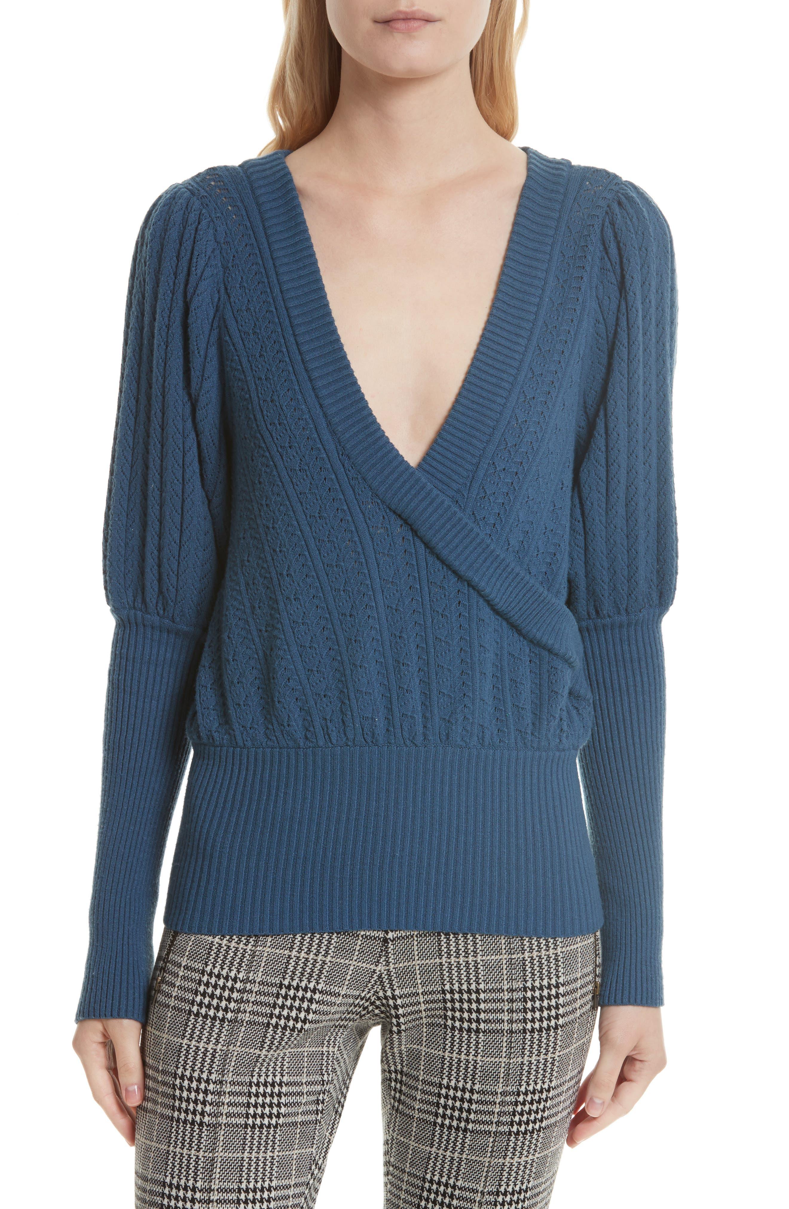 Pointelle Knit Surplice Sweater,                         Main,                         color, Bijou