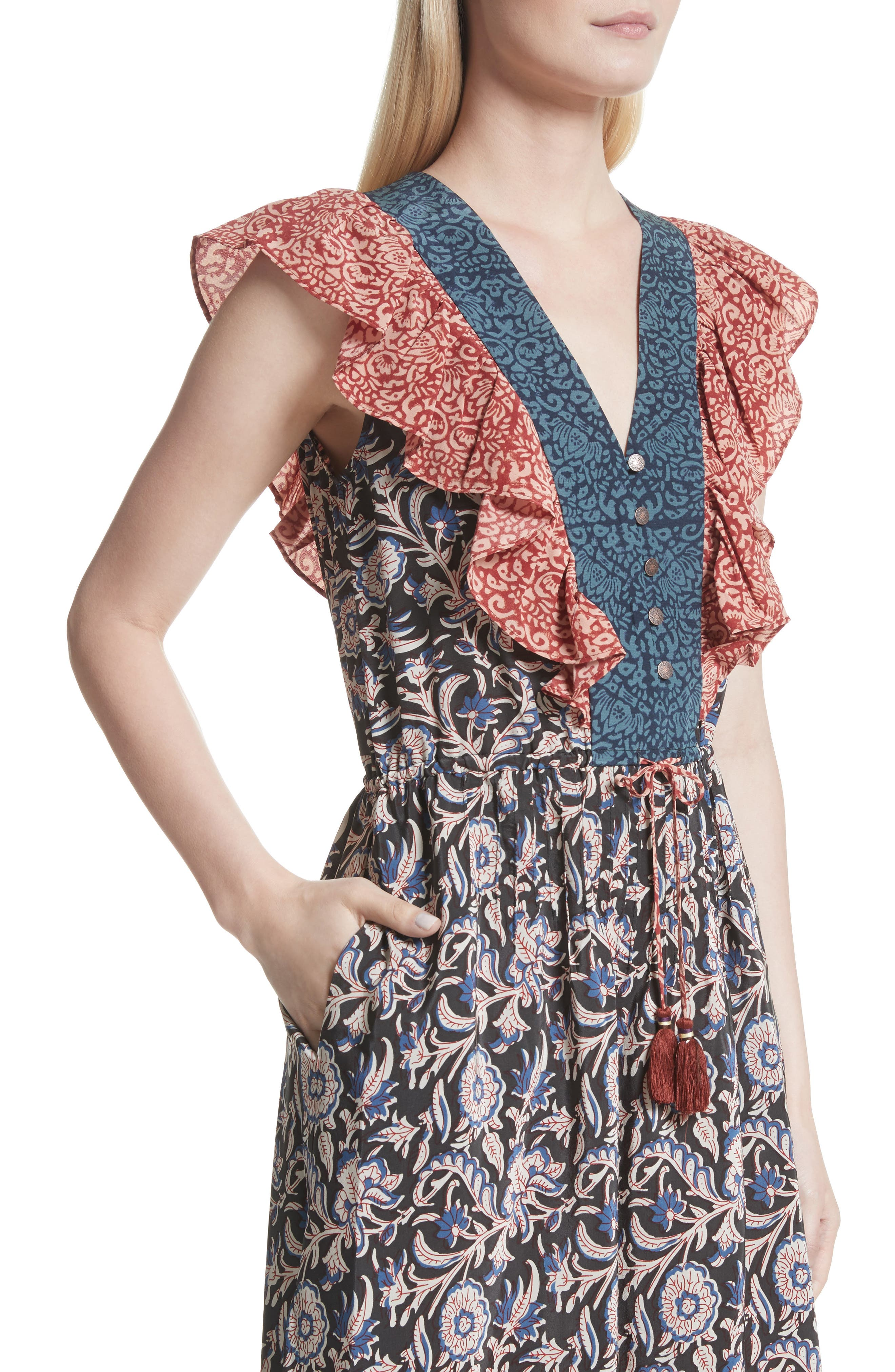 Alternate Image 4  - Sea Mixed Print Silk Flutter Dress