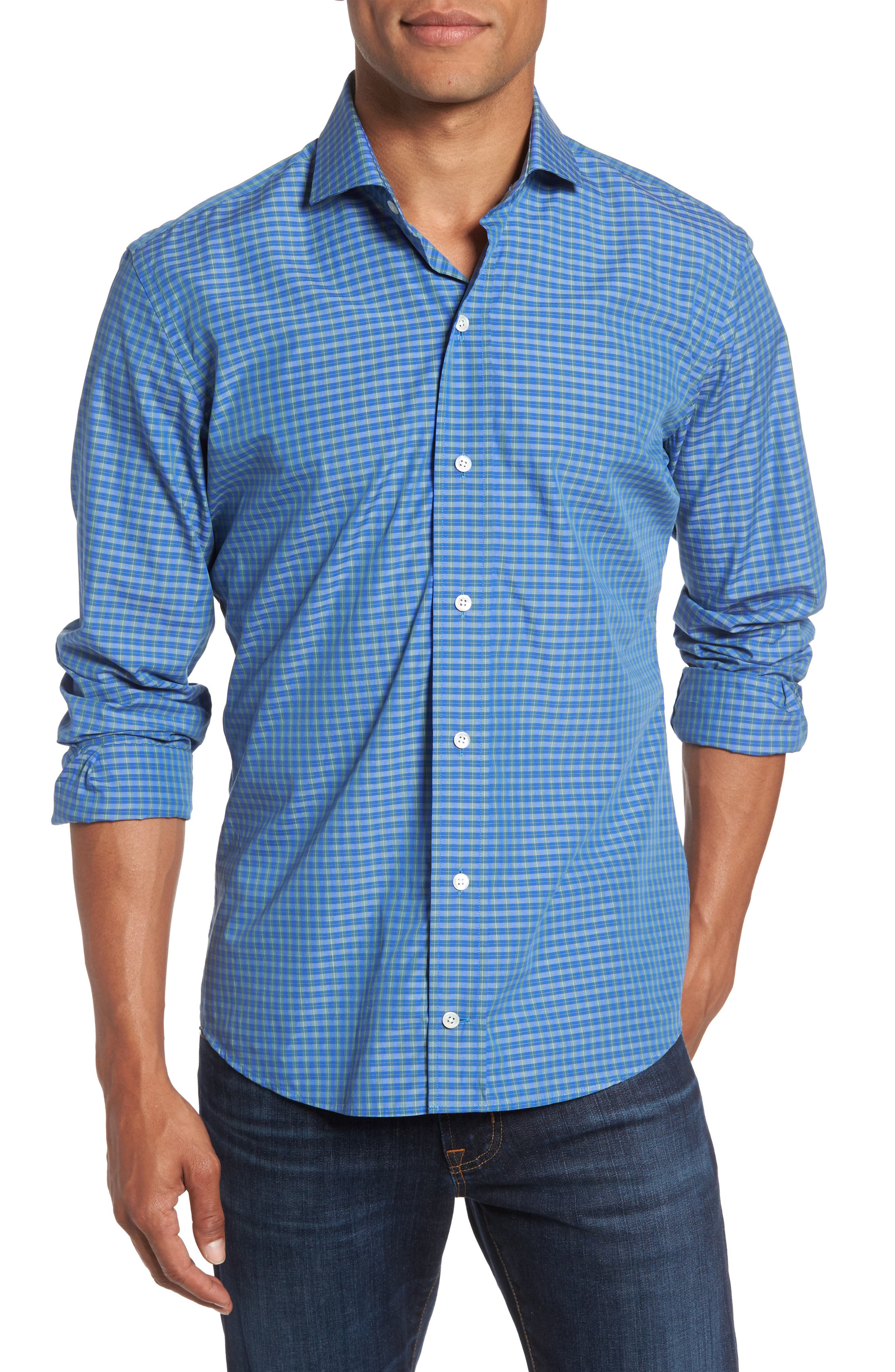 Alternate Image 1 Selected - Ledbury Alden Slim Fit Plaid Sport Shirt