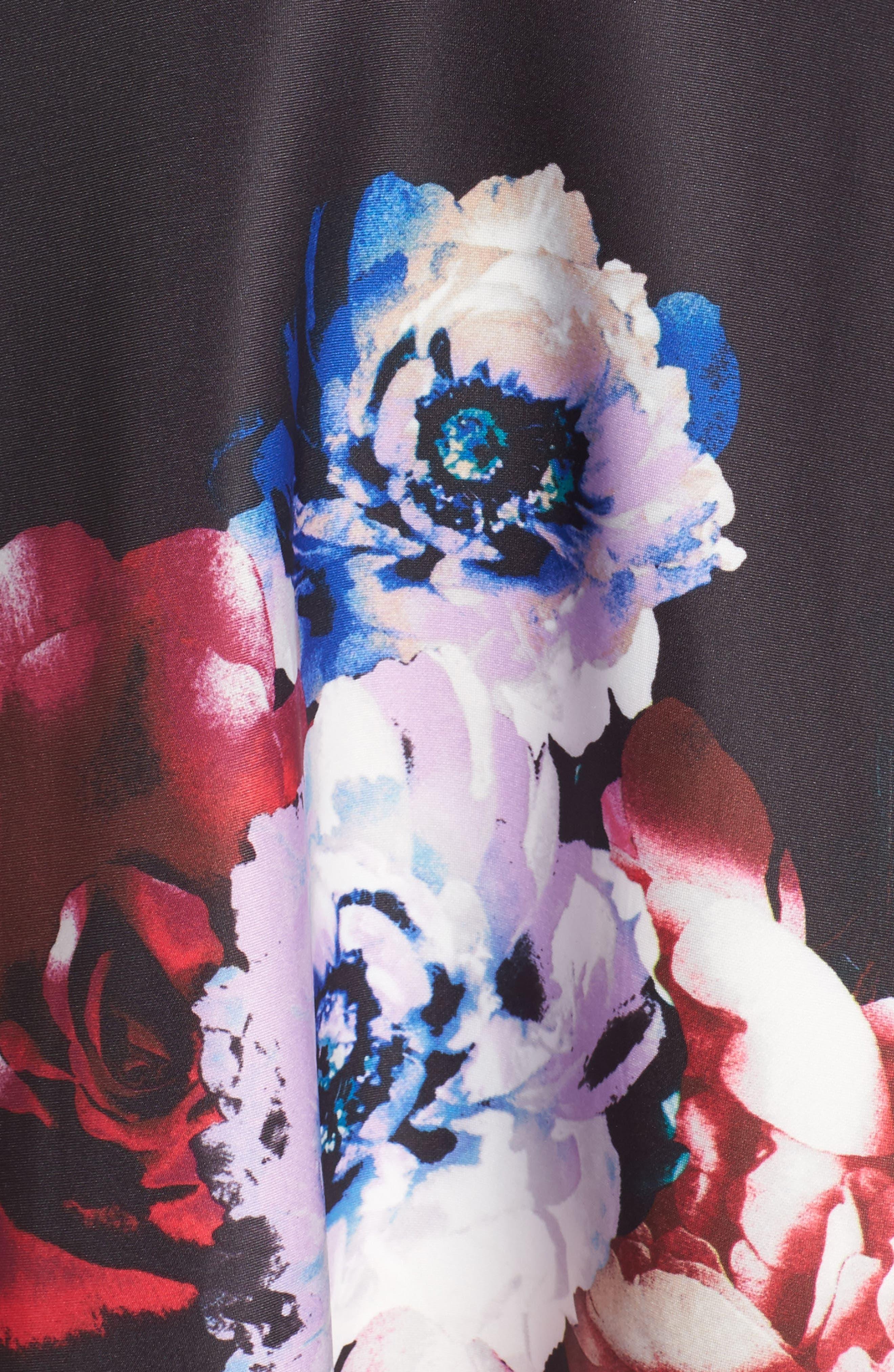 Scuba Knit Fit & Flare Dress,                             Alternate thumbnail 5, color,                             Black Raspberry
