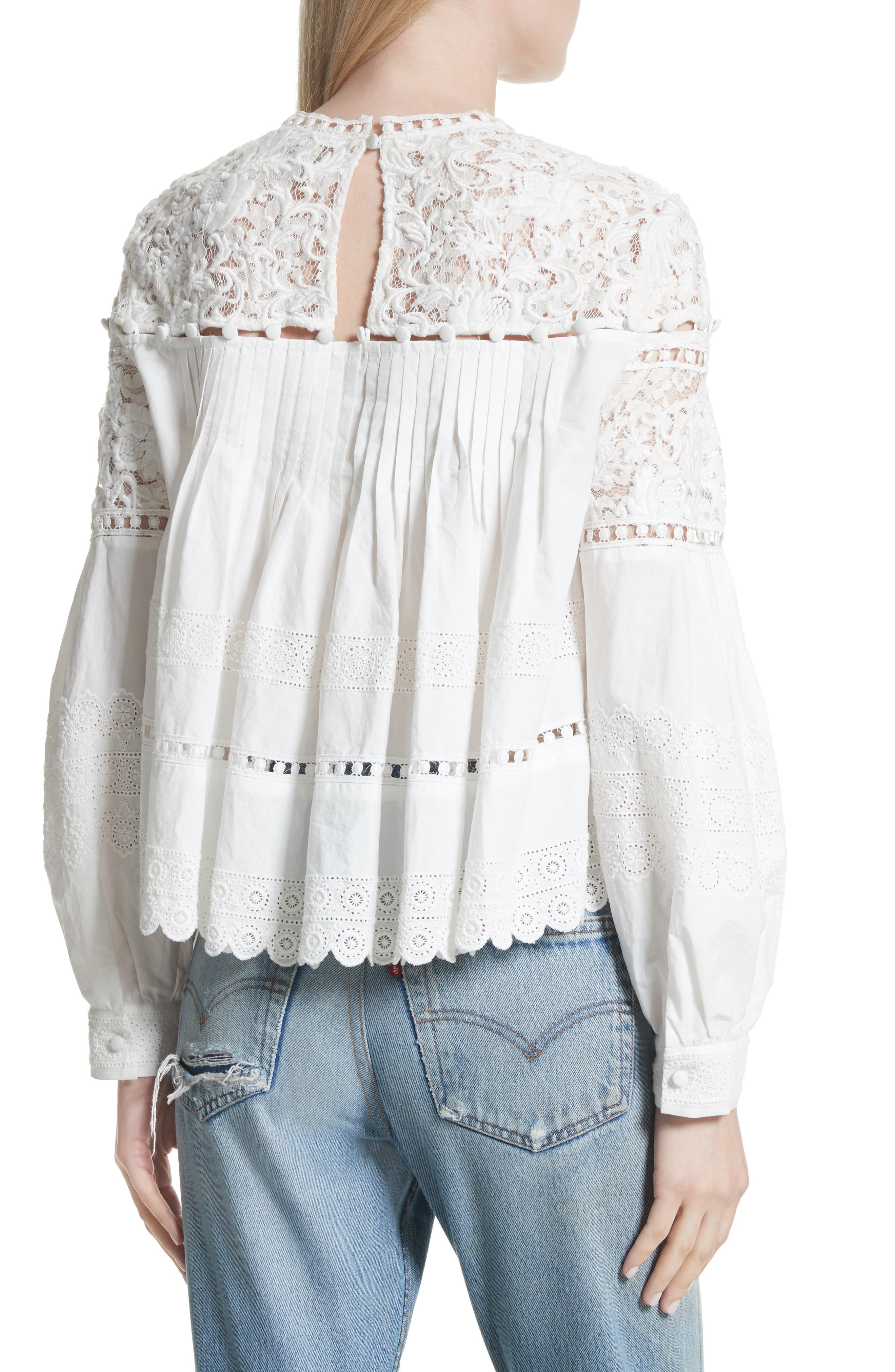 Cotton Eyelet Blouse,                             Alternate thumbnail 2, color,                             Cream