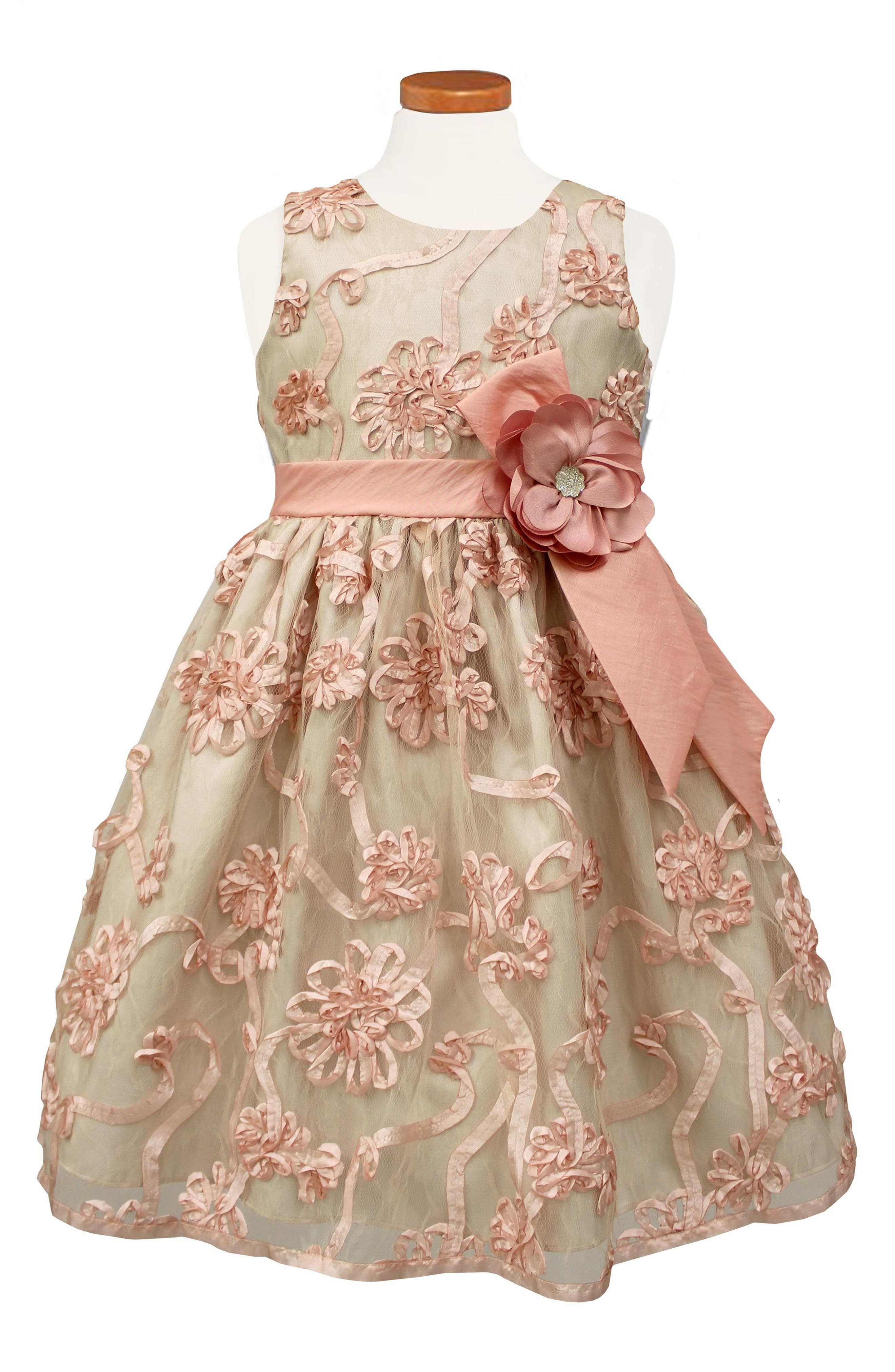 Sorbet Ribbon Rosette Party Dress (Toddler Girls & Little Girls)