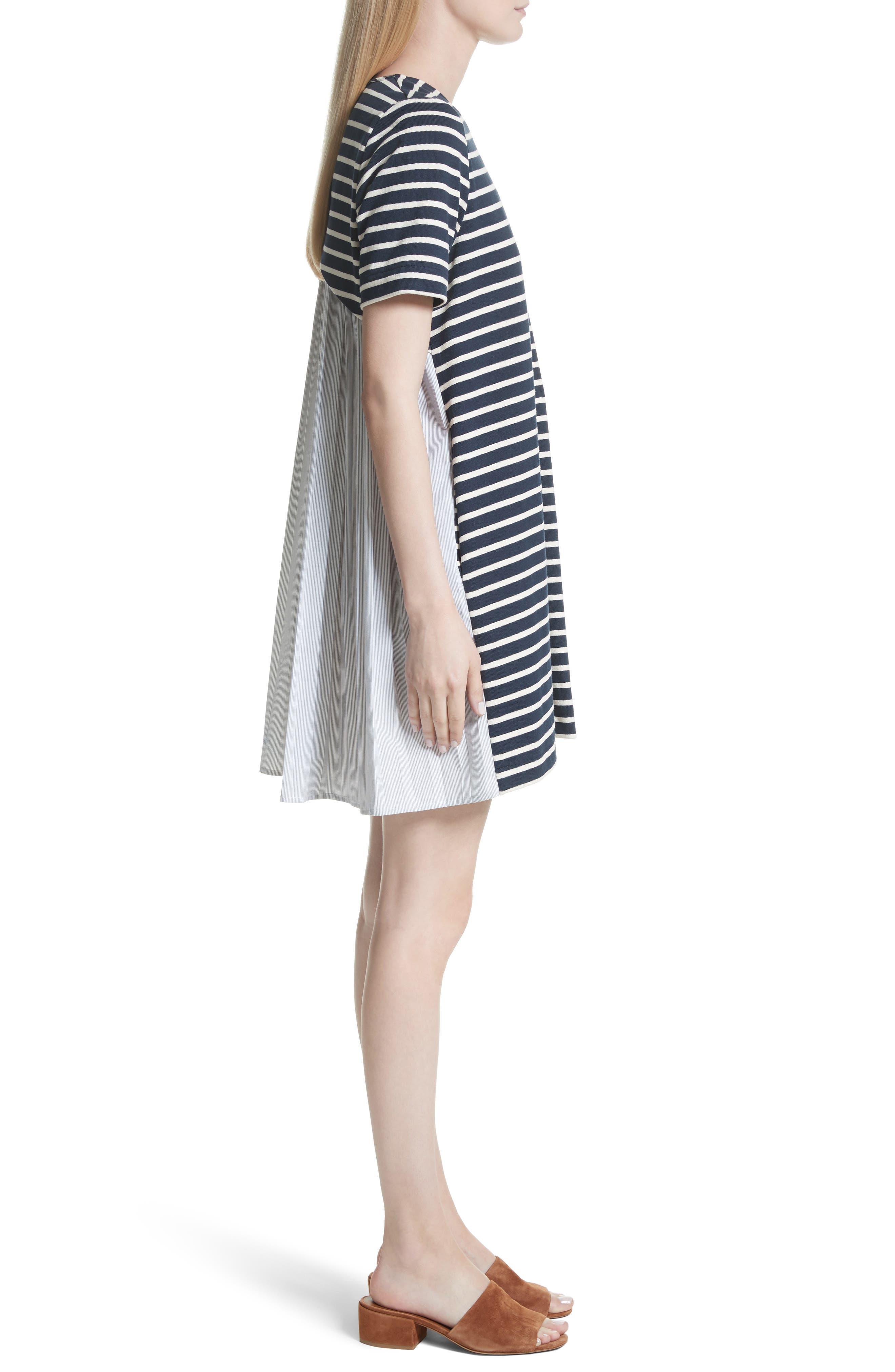 Latch Back Tunic Dress,                             Alternate thumbnail 3, color,                             Navy/ Cream Multi