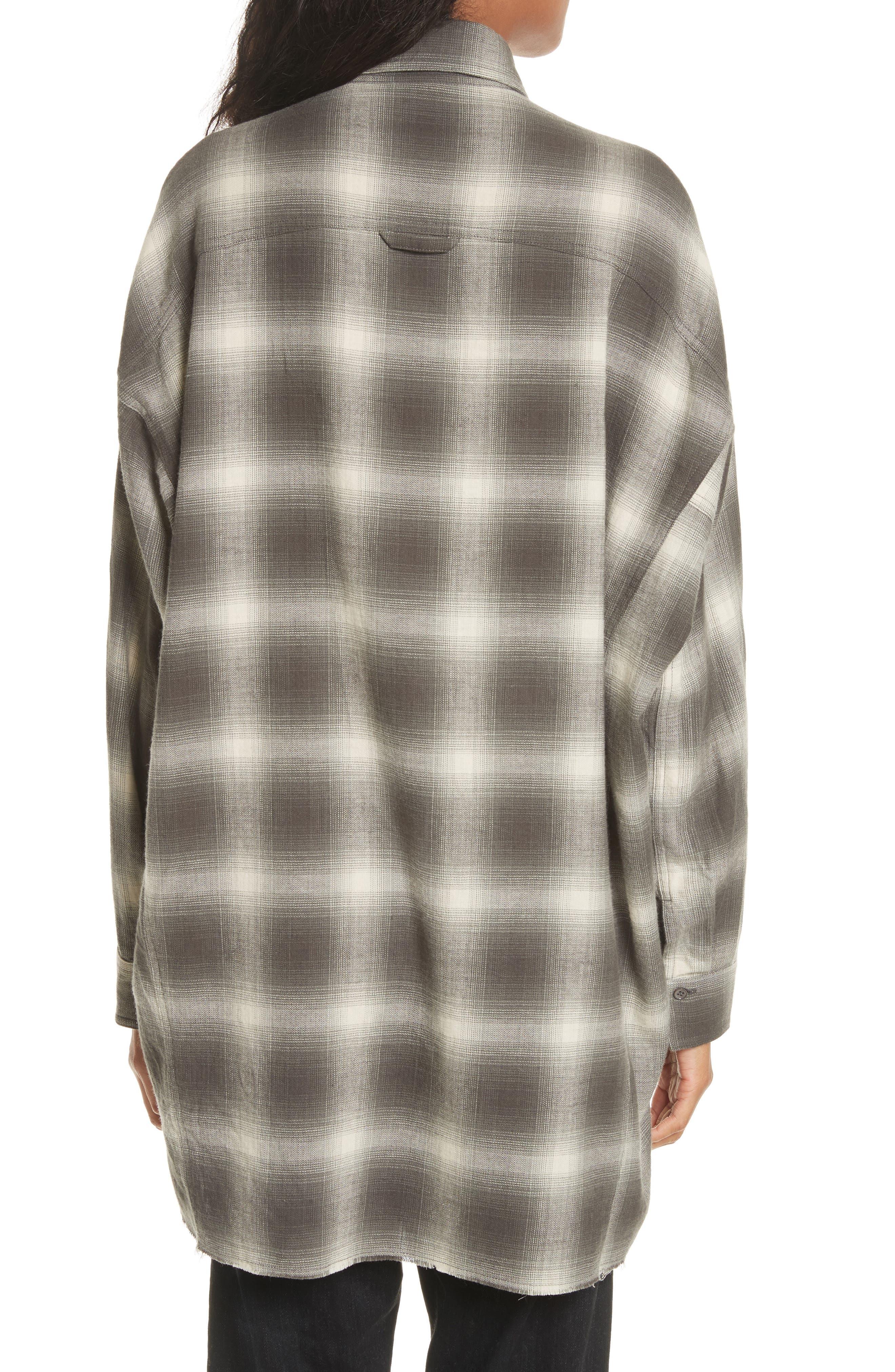 Brushed Window Plaid Oversize Shirt,                             Alternate thumbnail 3, color,                             Grey
