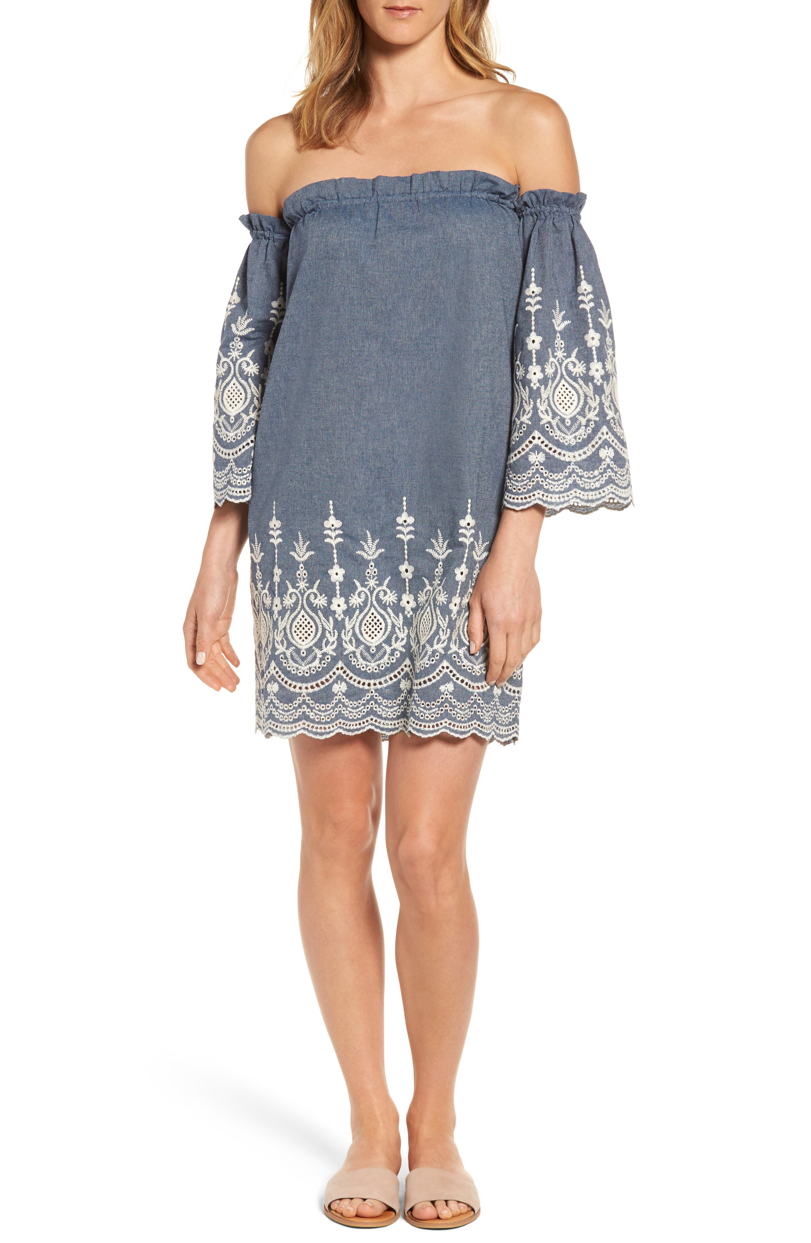 KAS NEW YORK Off the Shoulder Chambray Dress