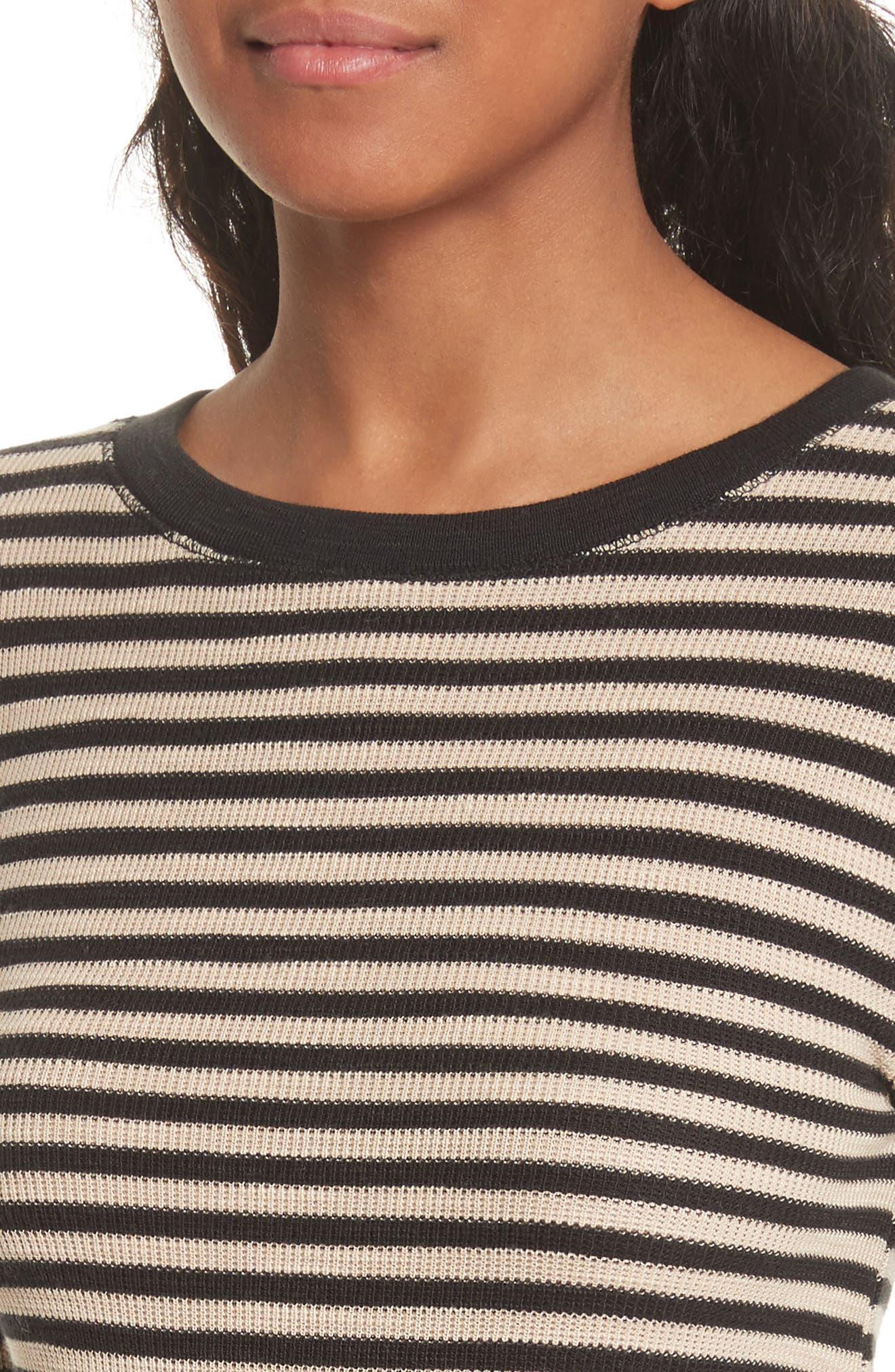 Railroad Stripe Crewneck Sweater,                             Alternate thumbnail 6, color,                             Taupe/ Black
