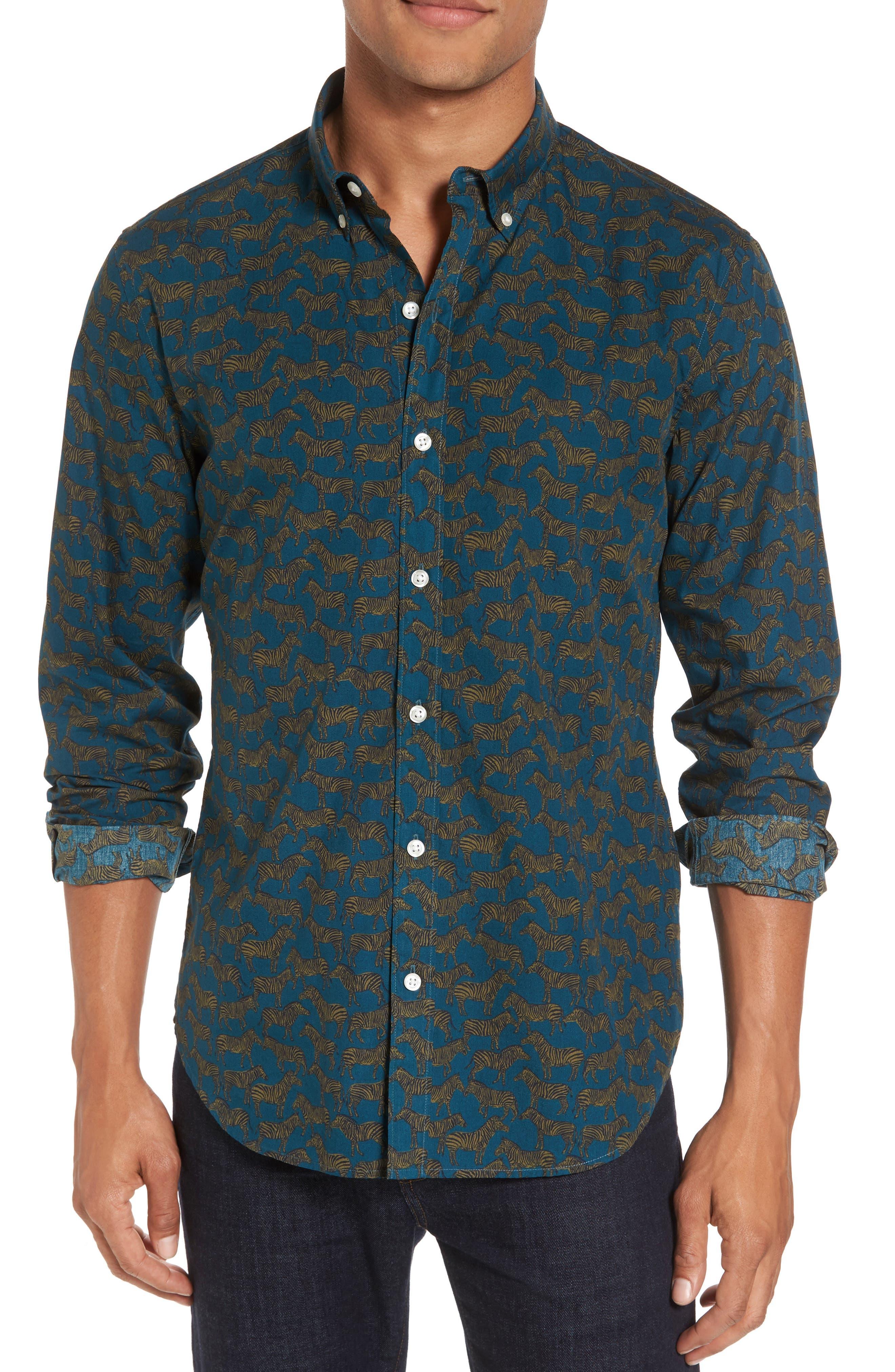 Main Image - Bonobos Slim Fit Zebra Print Sport Shirt
