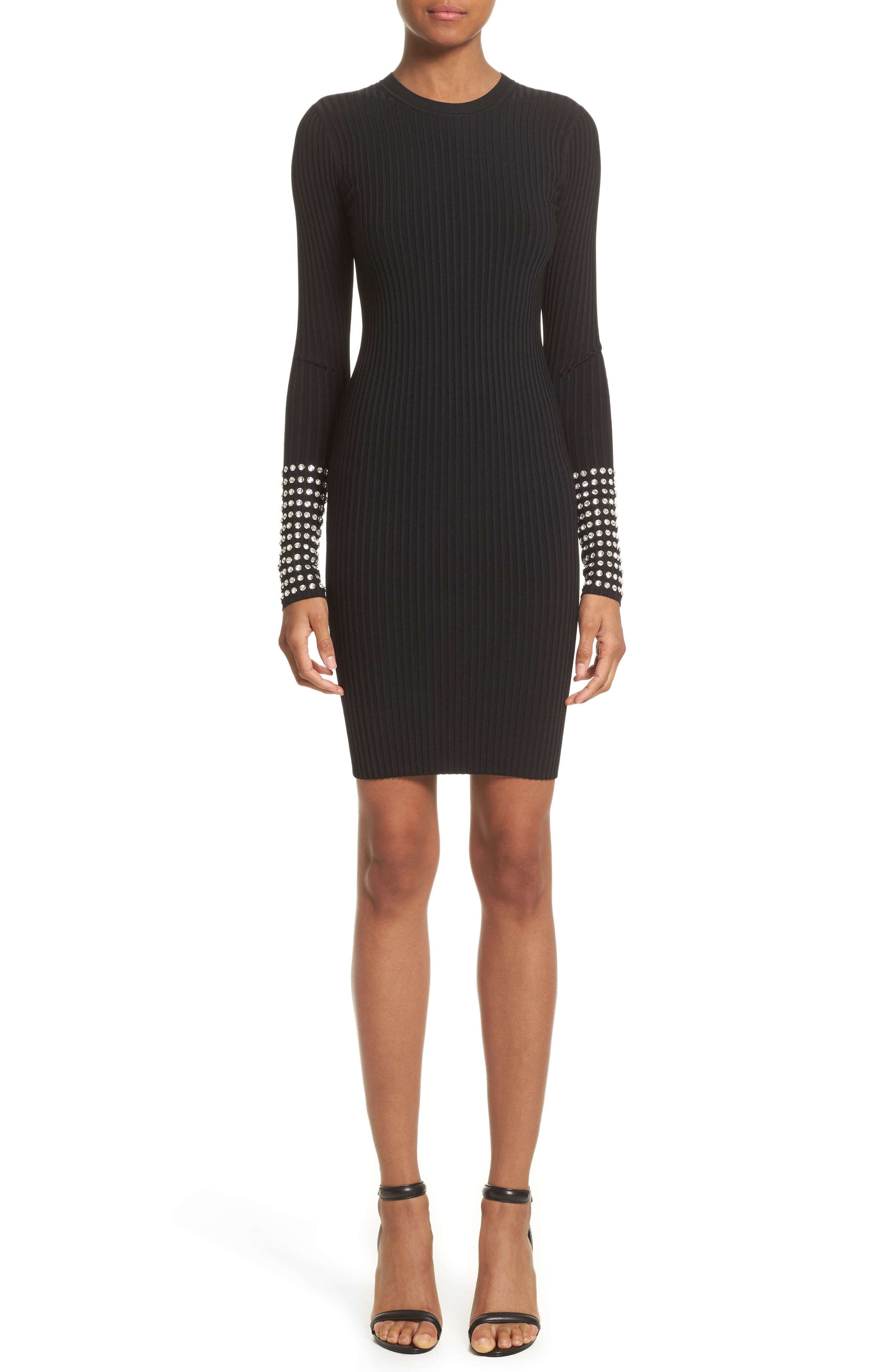 Crystal Cuff Rib Knit Dress,                             Main thumbnail 1, color,                             Black