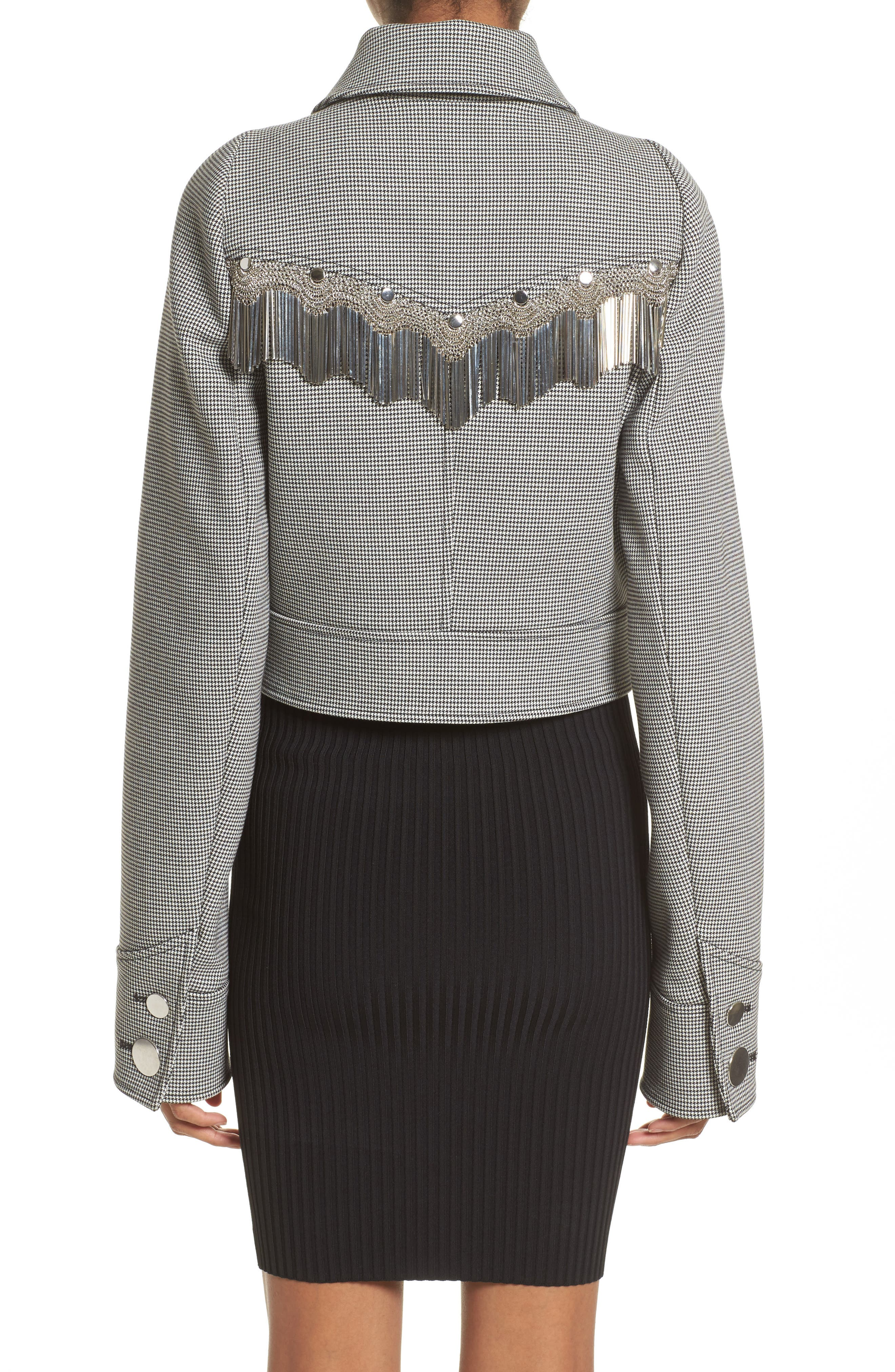 Fringe Crop Jacket,                             Alternate thumbnail 2, color,                             Black/ White