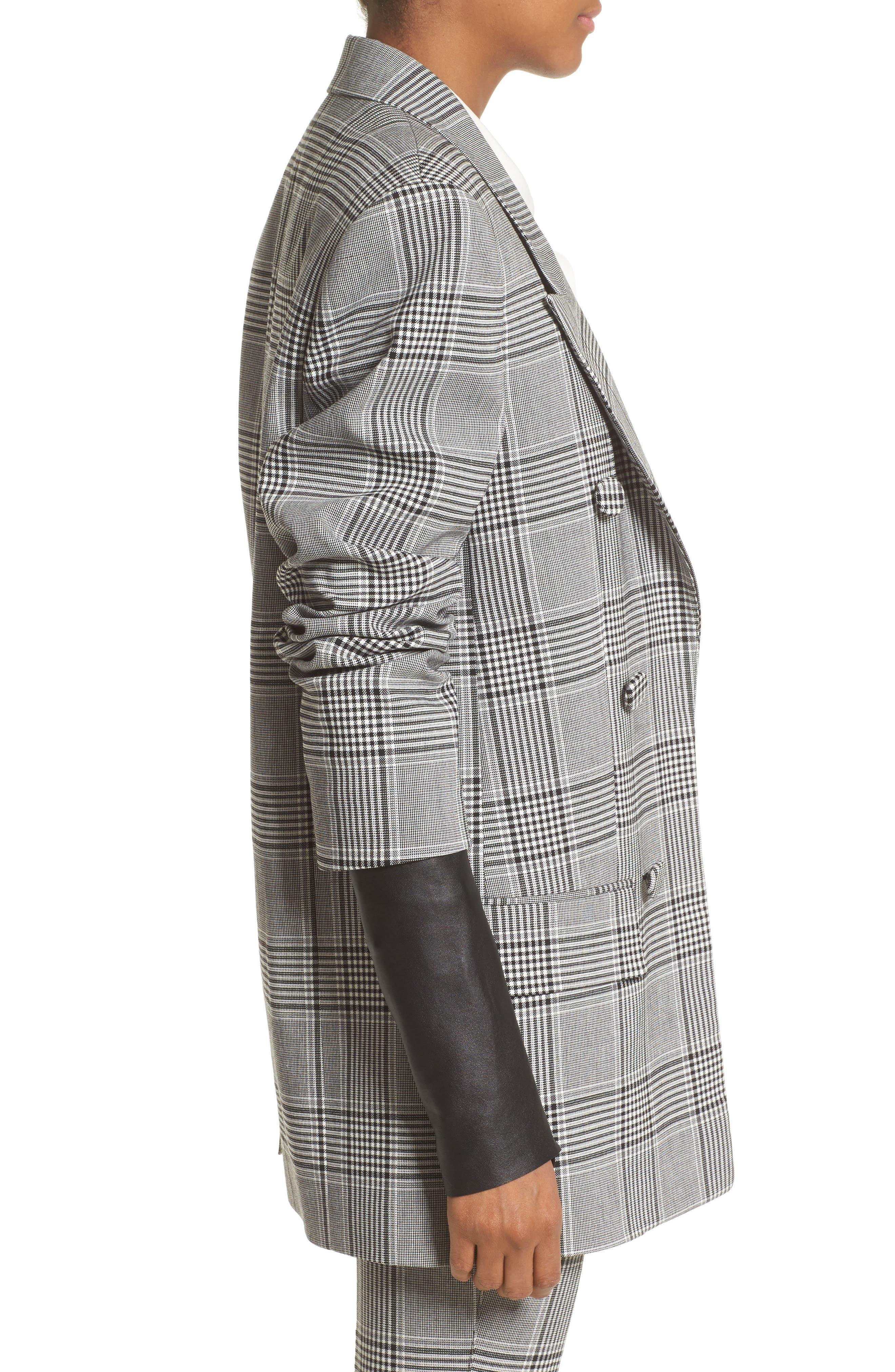 Leather Sleeve Check Blazer,                             Alternate thumbnail 3, color,                             Black/ White