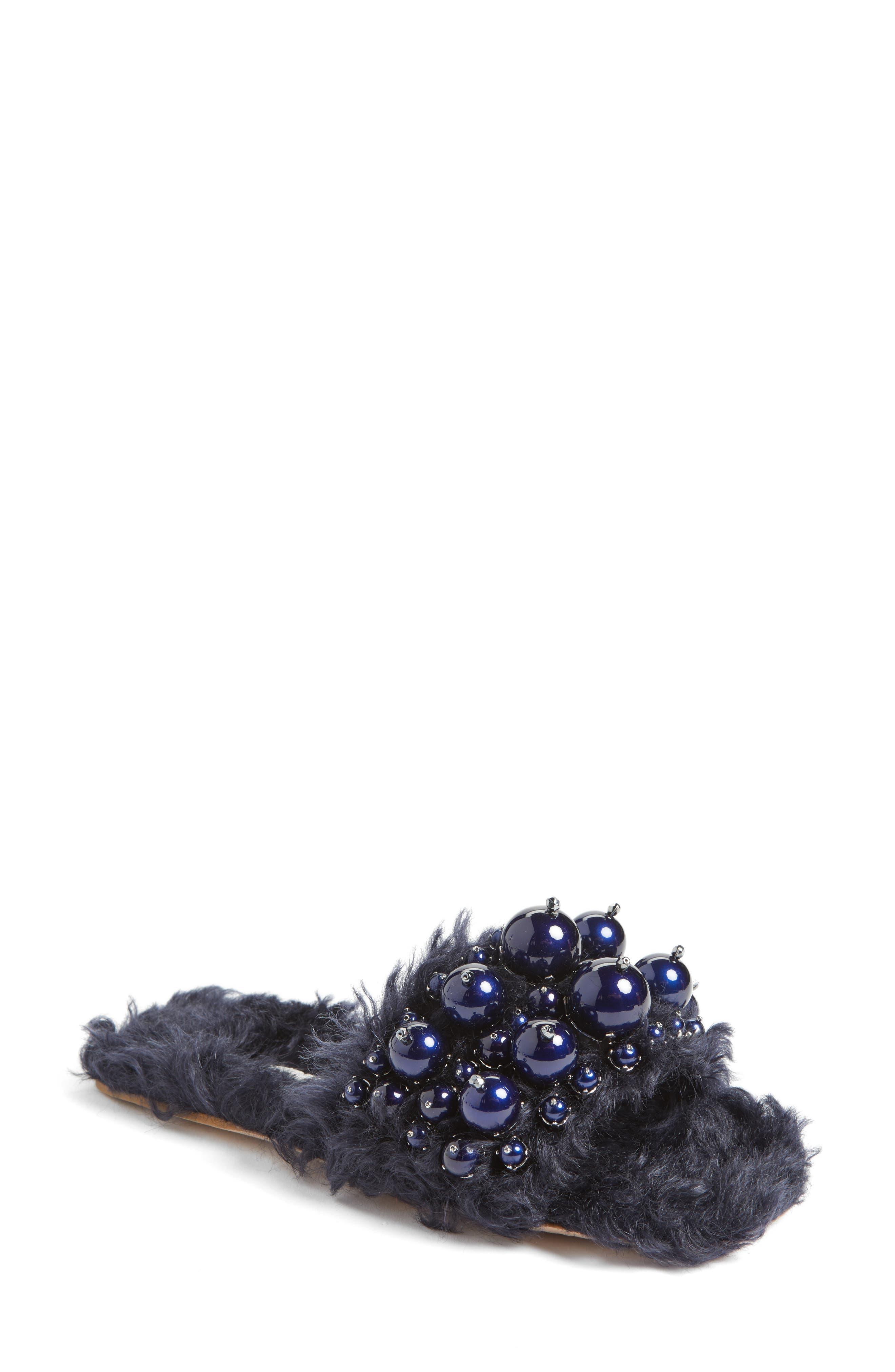 Miu Miu Embellished Faux Fur Slipper (Women)