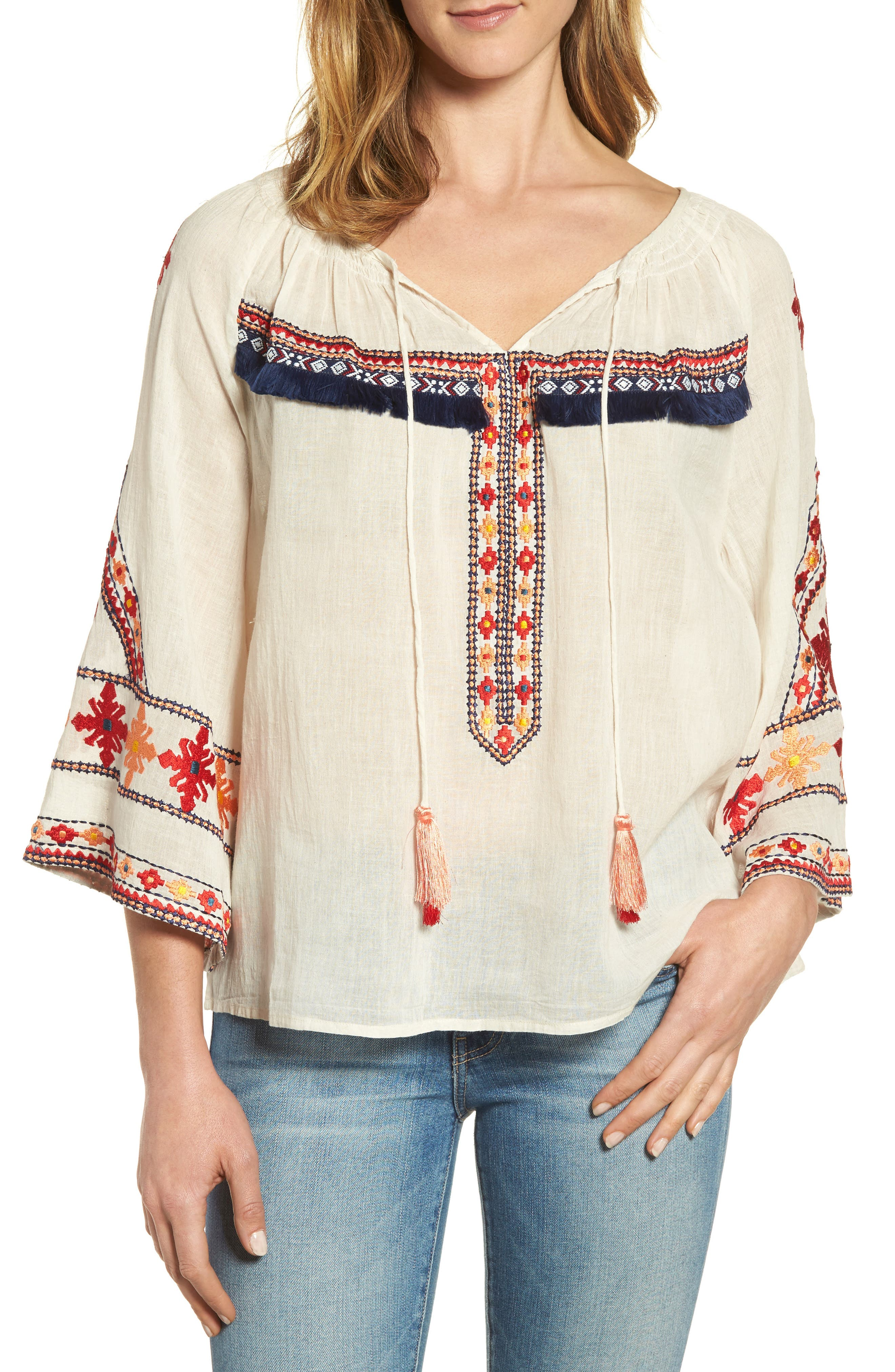 Juana Embroidered Peasant Top,                             Main thumbnail 1, color,                             Off White
