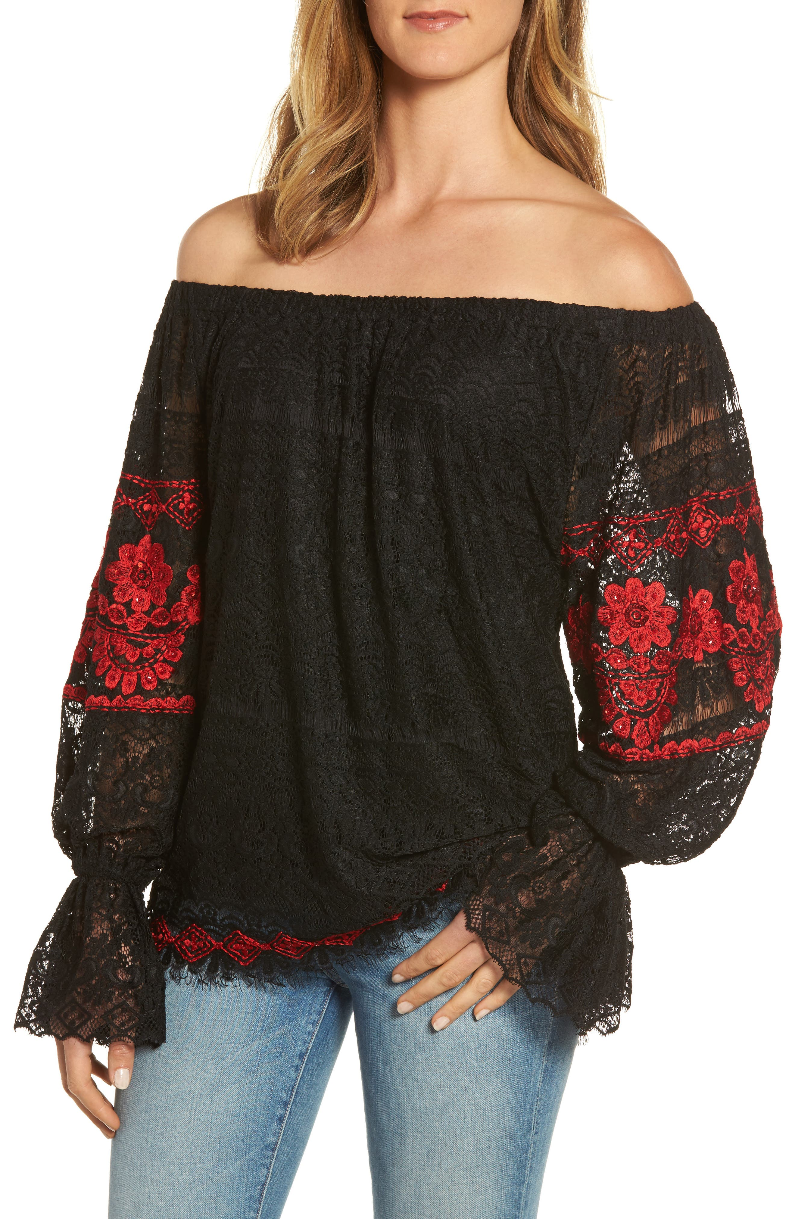 Clare Off the Shoulder Lace Top,                             Main thumbnail 1, color,                             Black