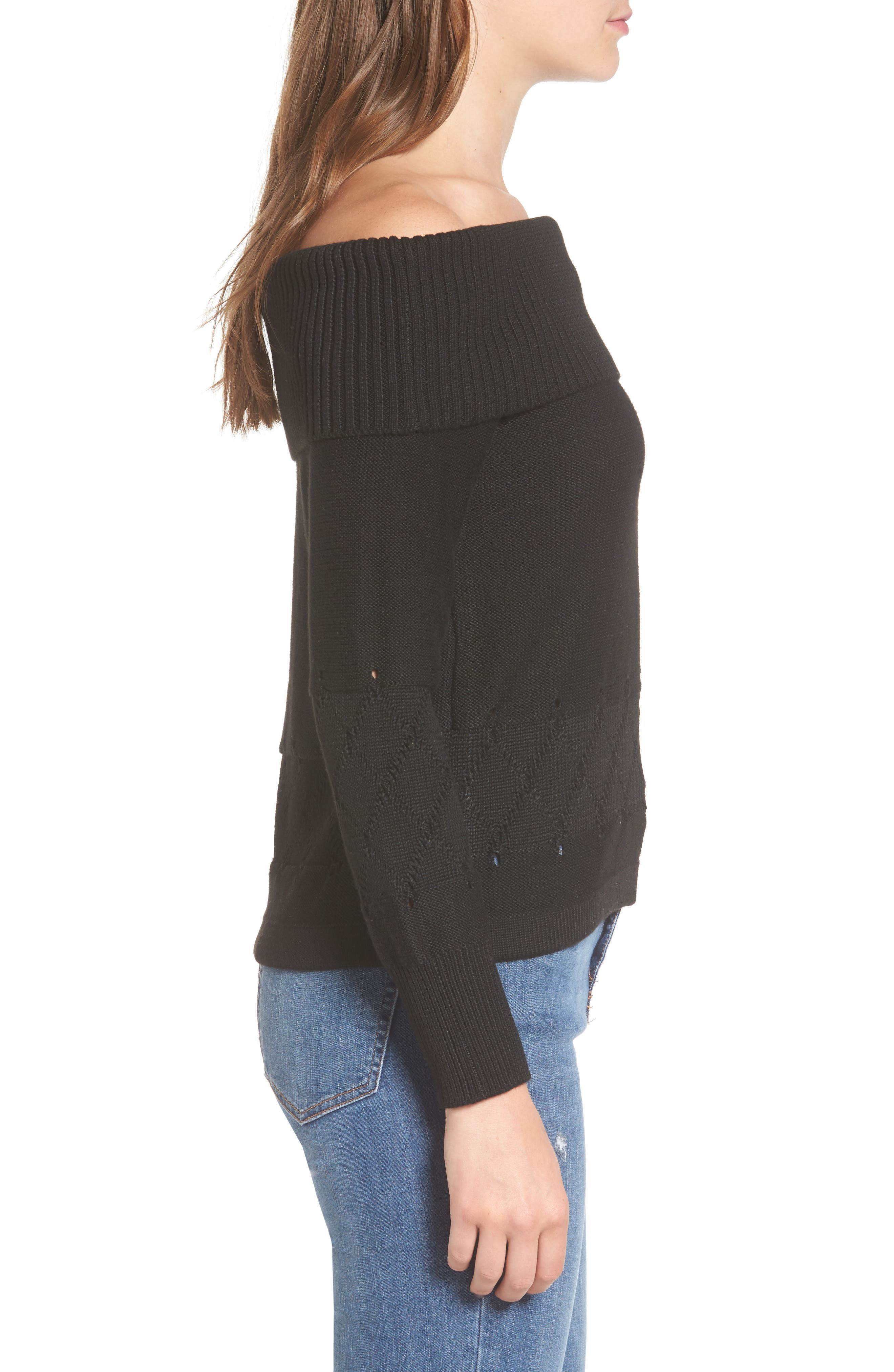 Terri Off the Shoulder Sweater,                             Alternate thumbnail 3, color,                             Black