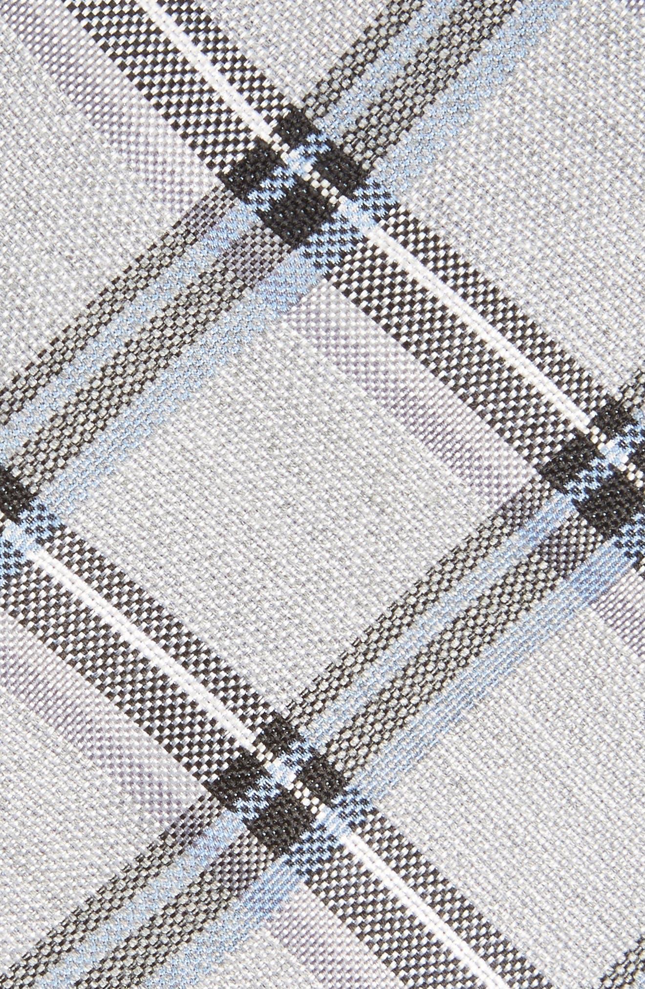 Bassett Check Skinny Silk Blend Tie,                             Alternate thumbnail 2, color,                             Black