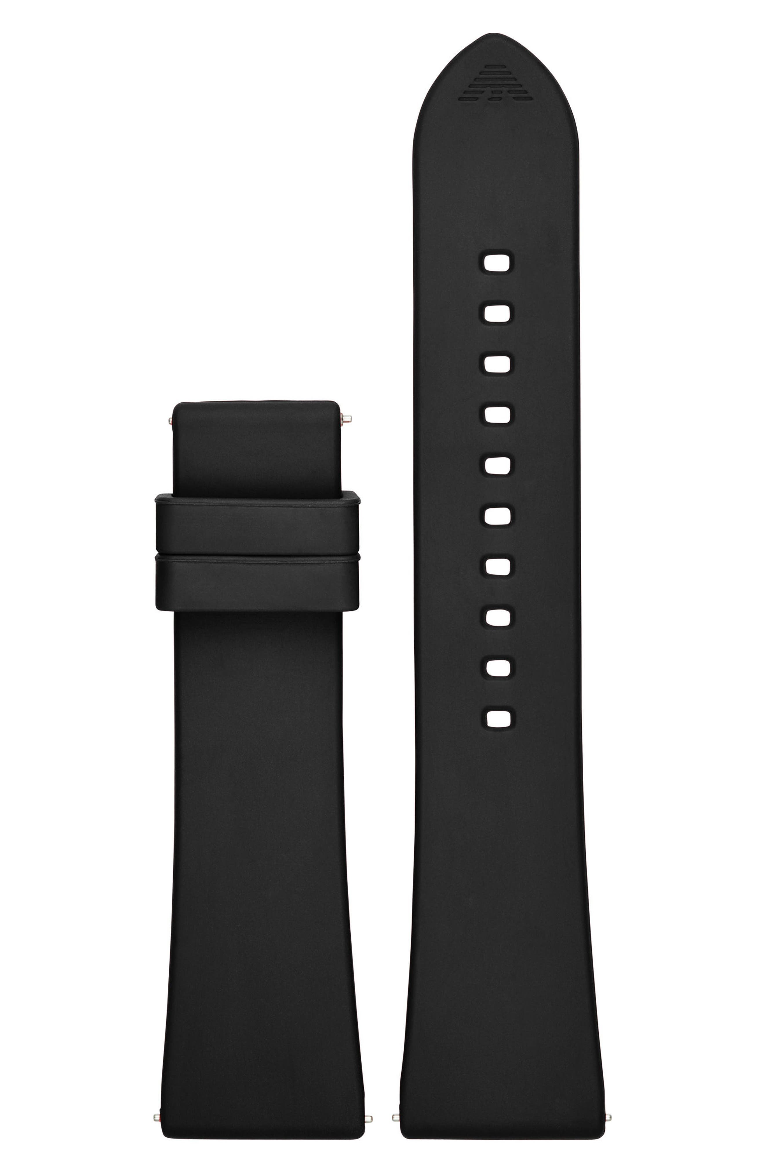22mm Silicone Watch Strap,                             Main thumbnail 1, color,                             Black