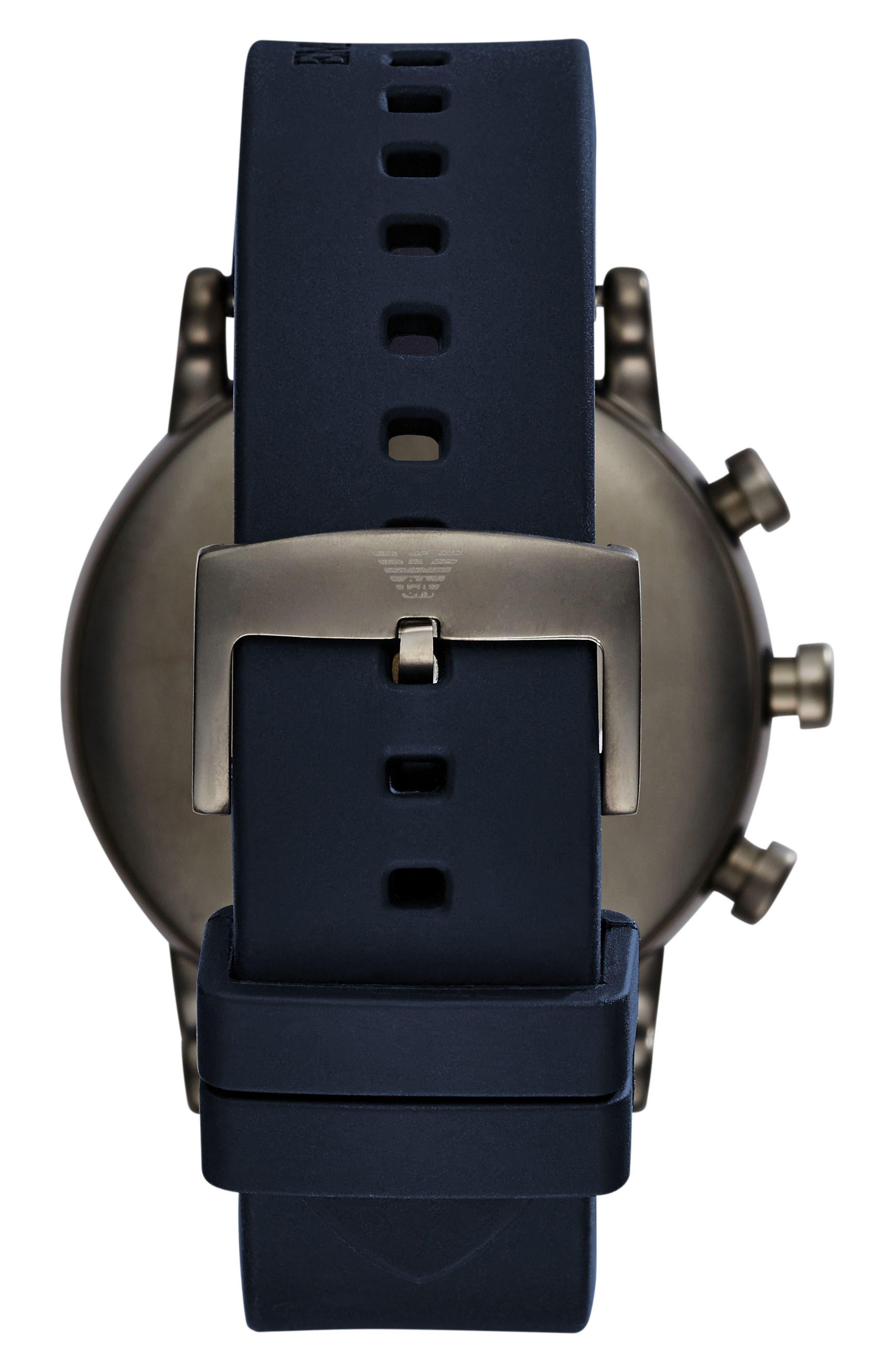 Alternate Image 2  - Emporio Armani Silicone Strap Hybrid Smartwatch, 43mm