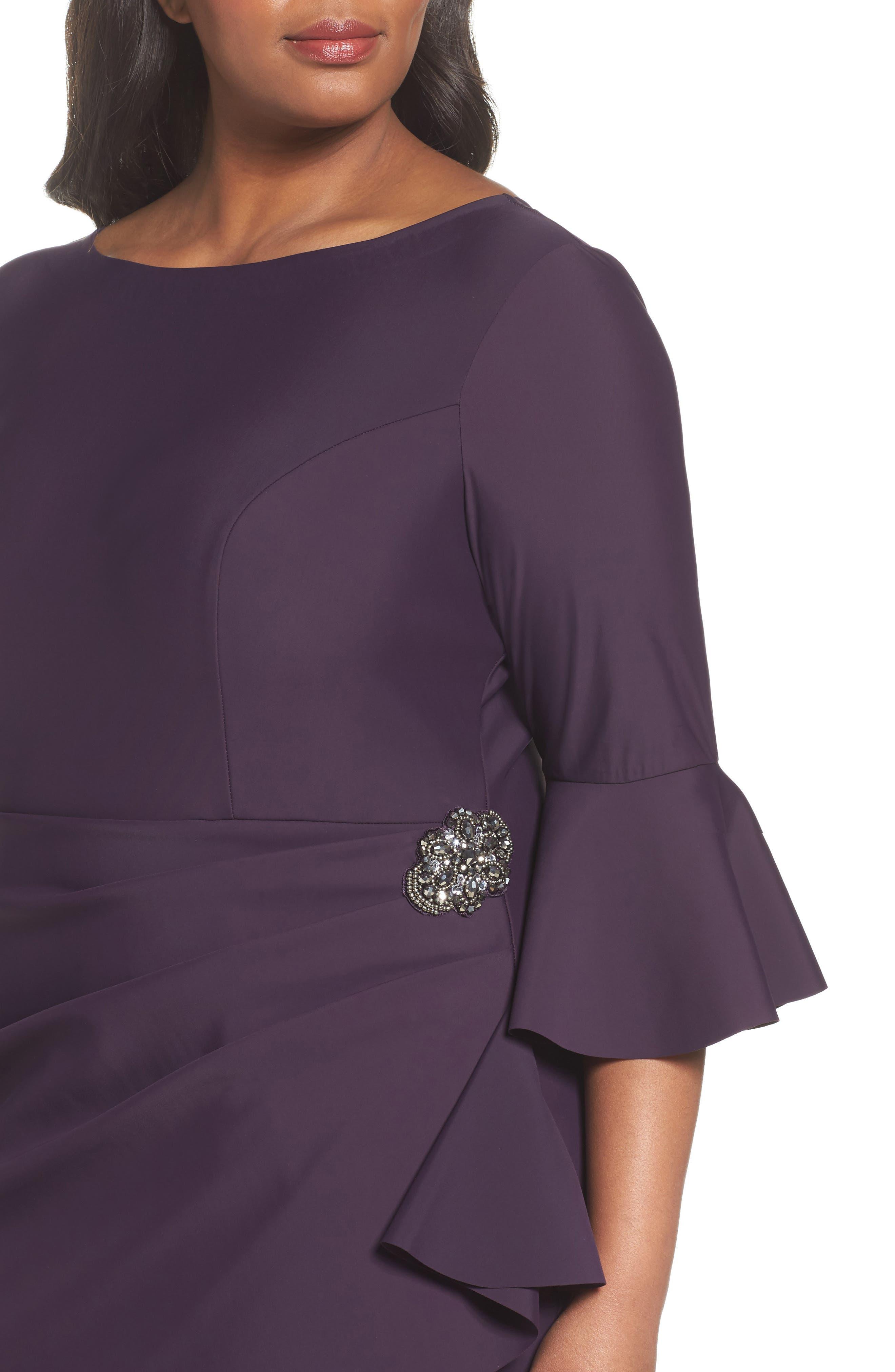 Alternate Image 4  - Alex Evenings Bell Sleeve Sheath Dress (Plus Size)