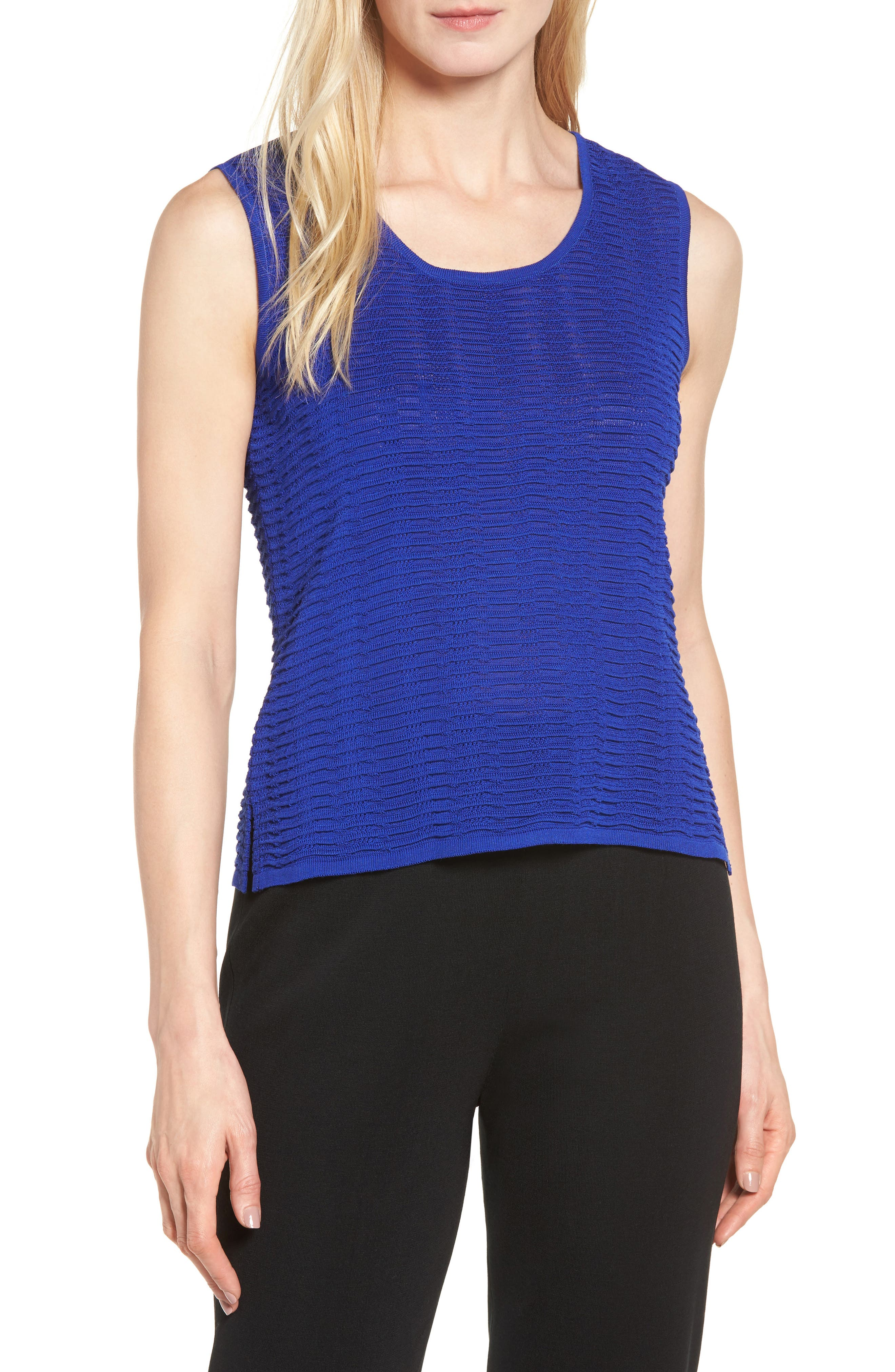 Scoop Neck Ripple Knit Tank,                         Main,                         color, Blue Flame