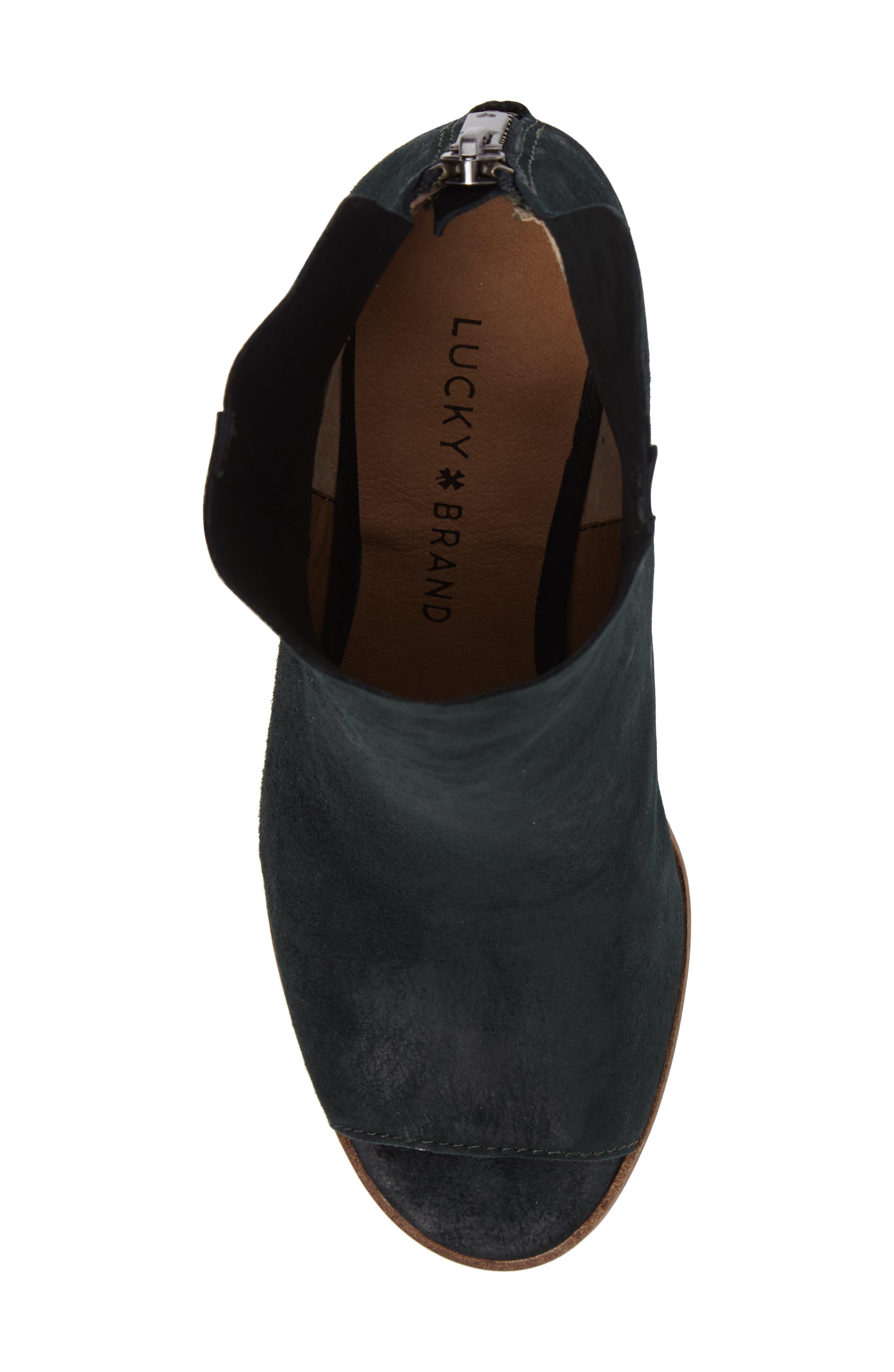 Urbi Peep Toe Bootie,                             Alternate thumbnail 5, color,                             Dark Cyan Leather