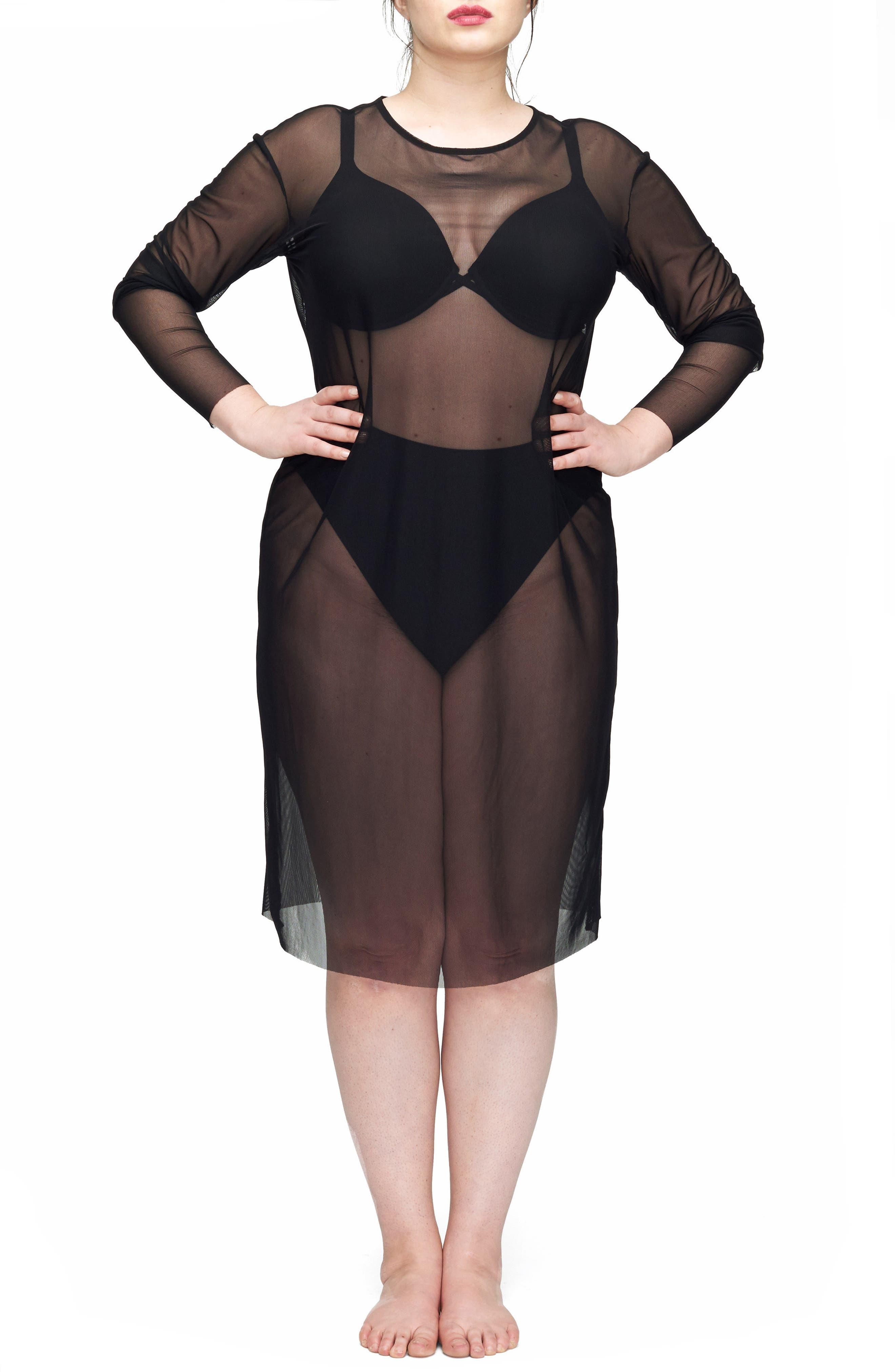 Thames Fog Sheer Dress,                         Main,                         color, Black
