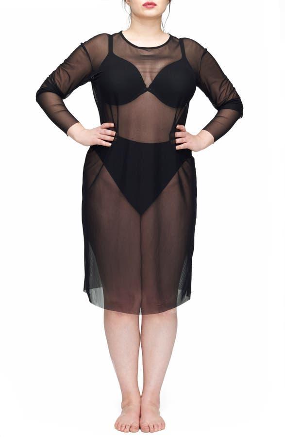 UNIVERSAL STANDARD Thames Fog Sheer Dress (Plus Size) | Nordstrom