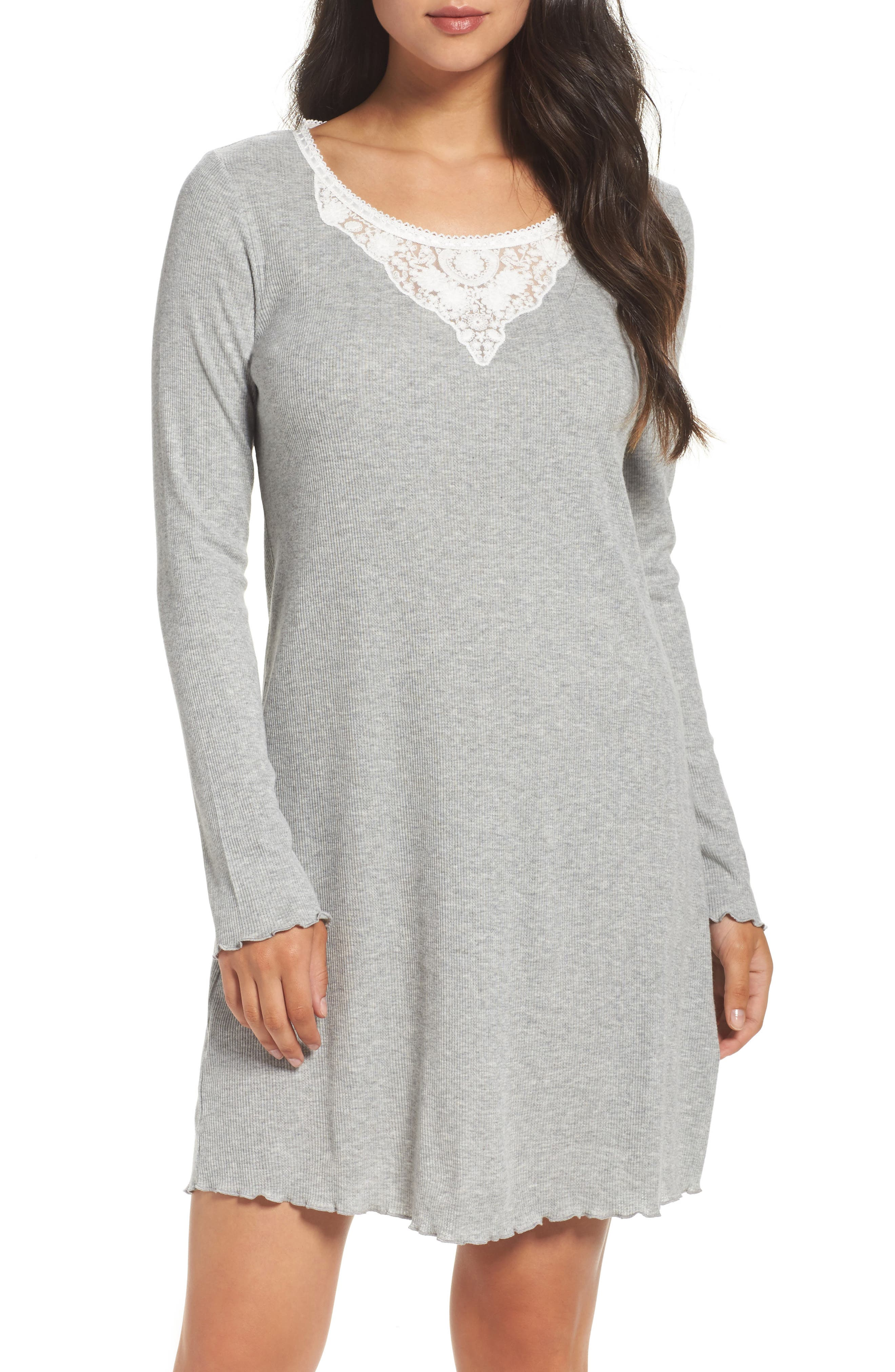Lace Neck Sleep Shirt,                             Main thumbnail 1, color,                             Grey Heather