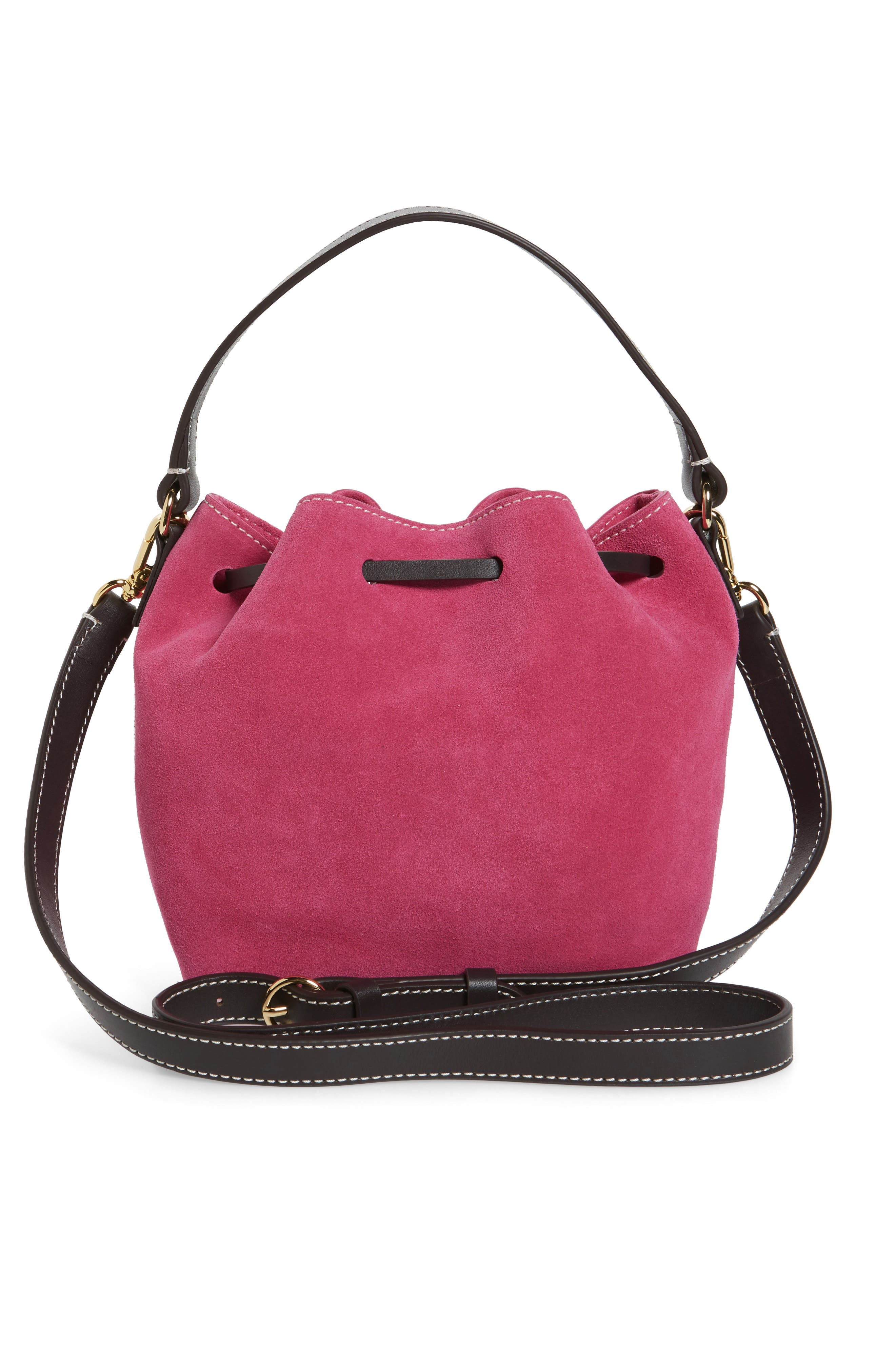 Ann Small Suede Bucket,                             Alternate thumbnail 3, color,                             Pink