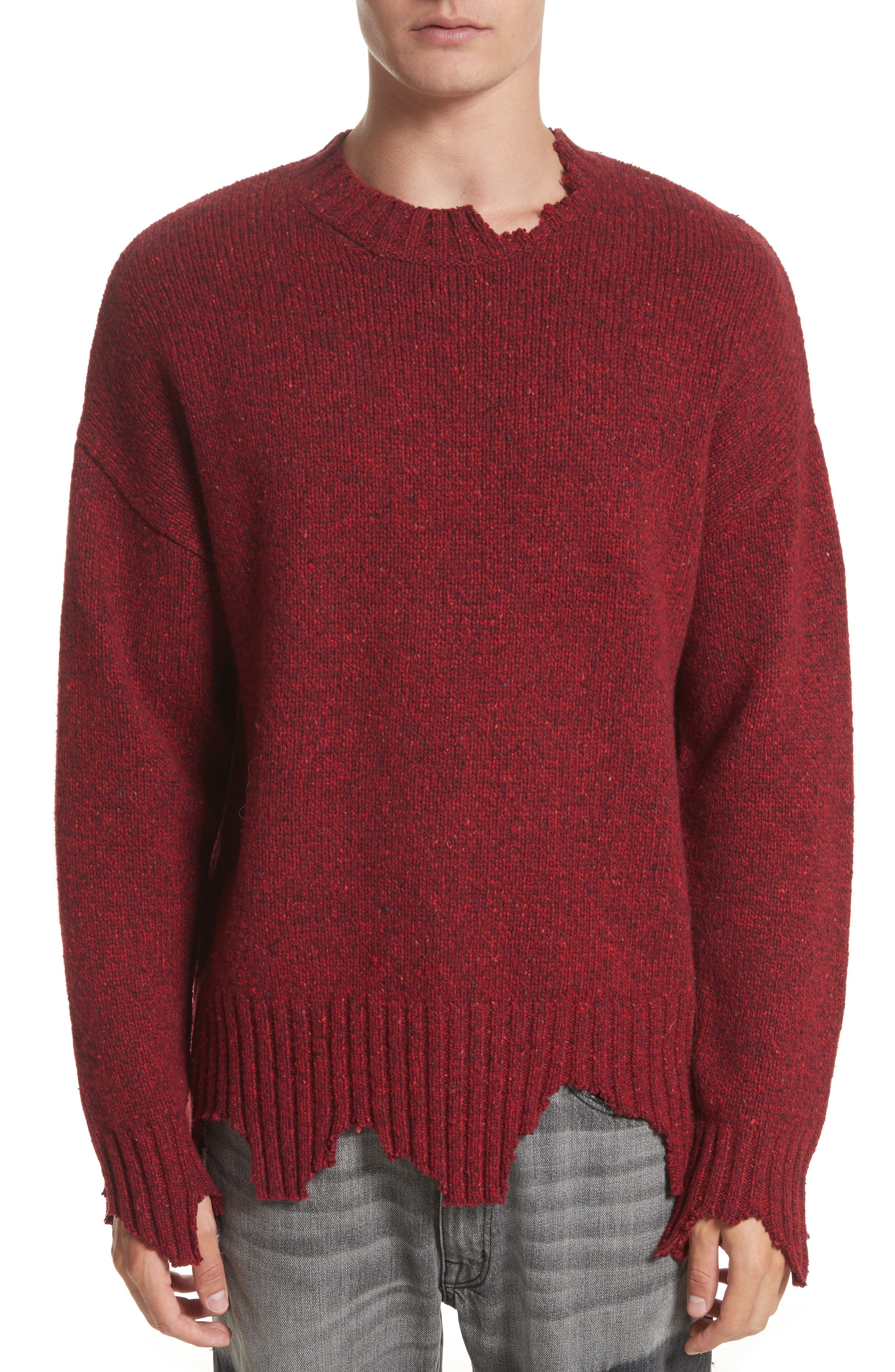 Destroyed Crewneck Sweater,                         Main,                         color, Red