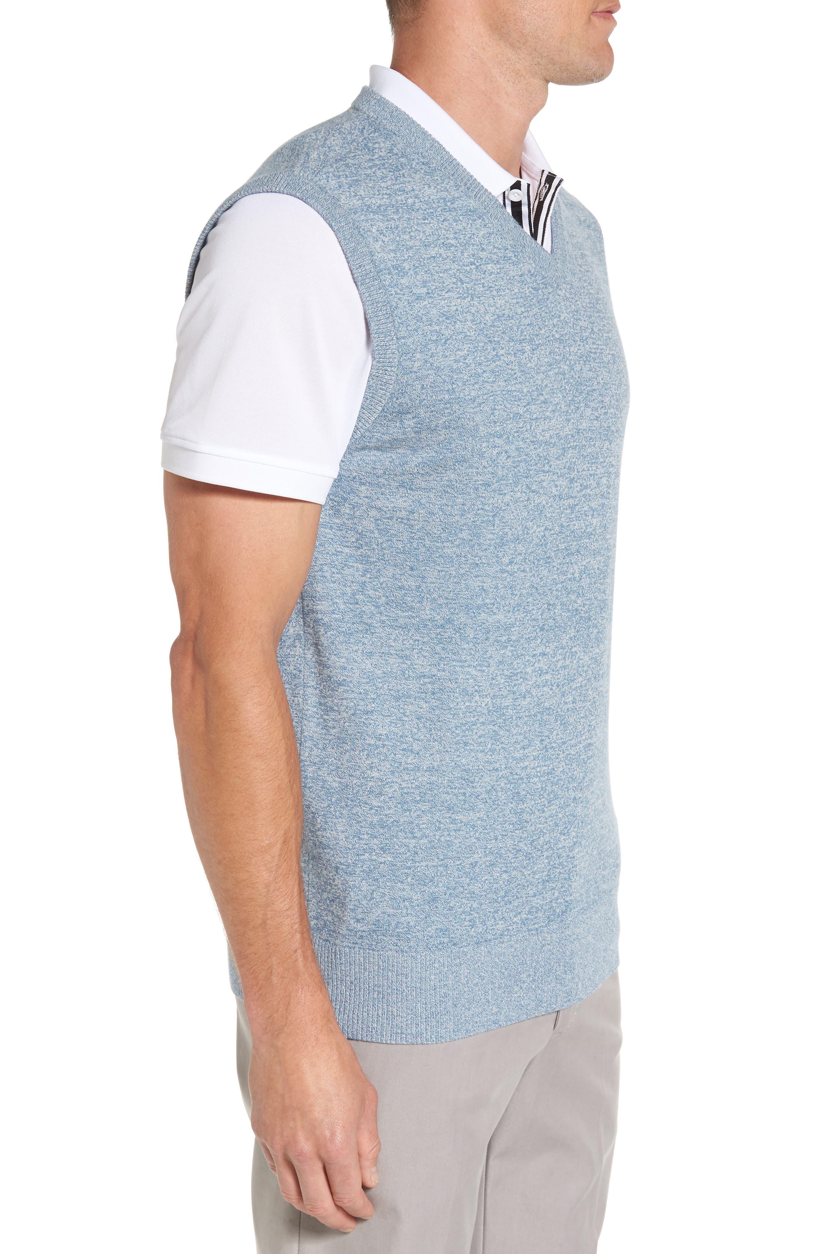 Valley V-Neck Sweater Vest,                             Alternate thumbnail 3, color,                             Blue Print/ White Melange